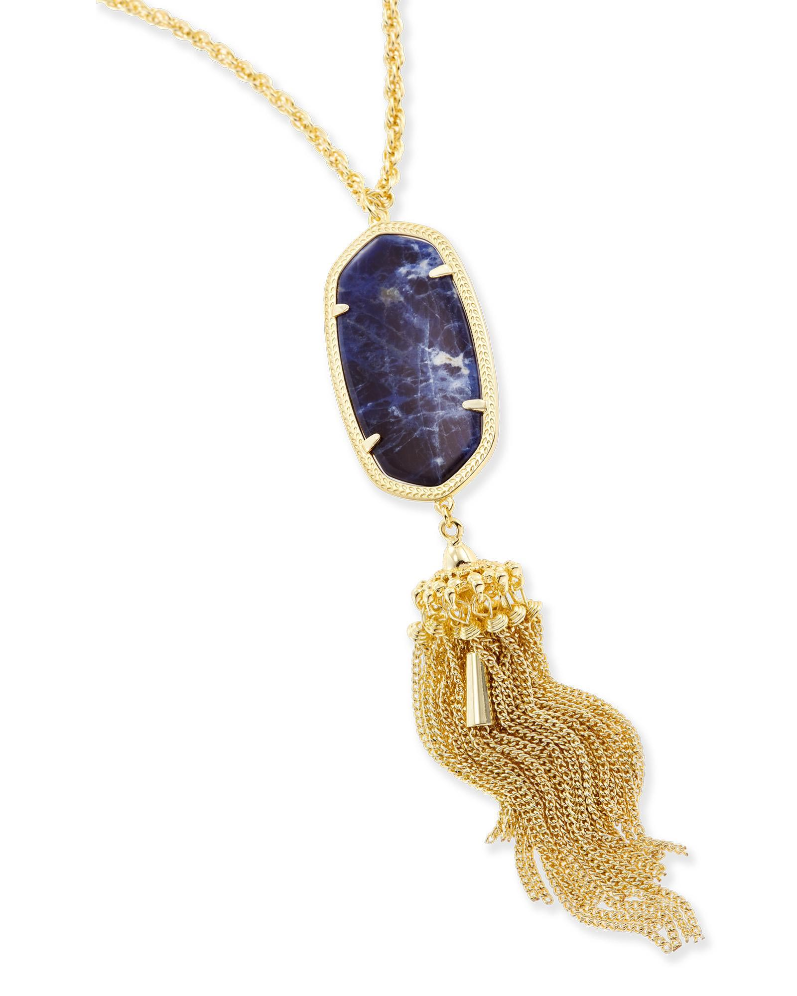 Rayne Long Necklace in Blue Sodalite