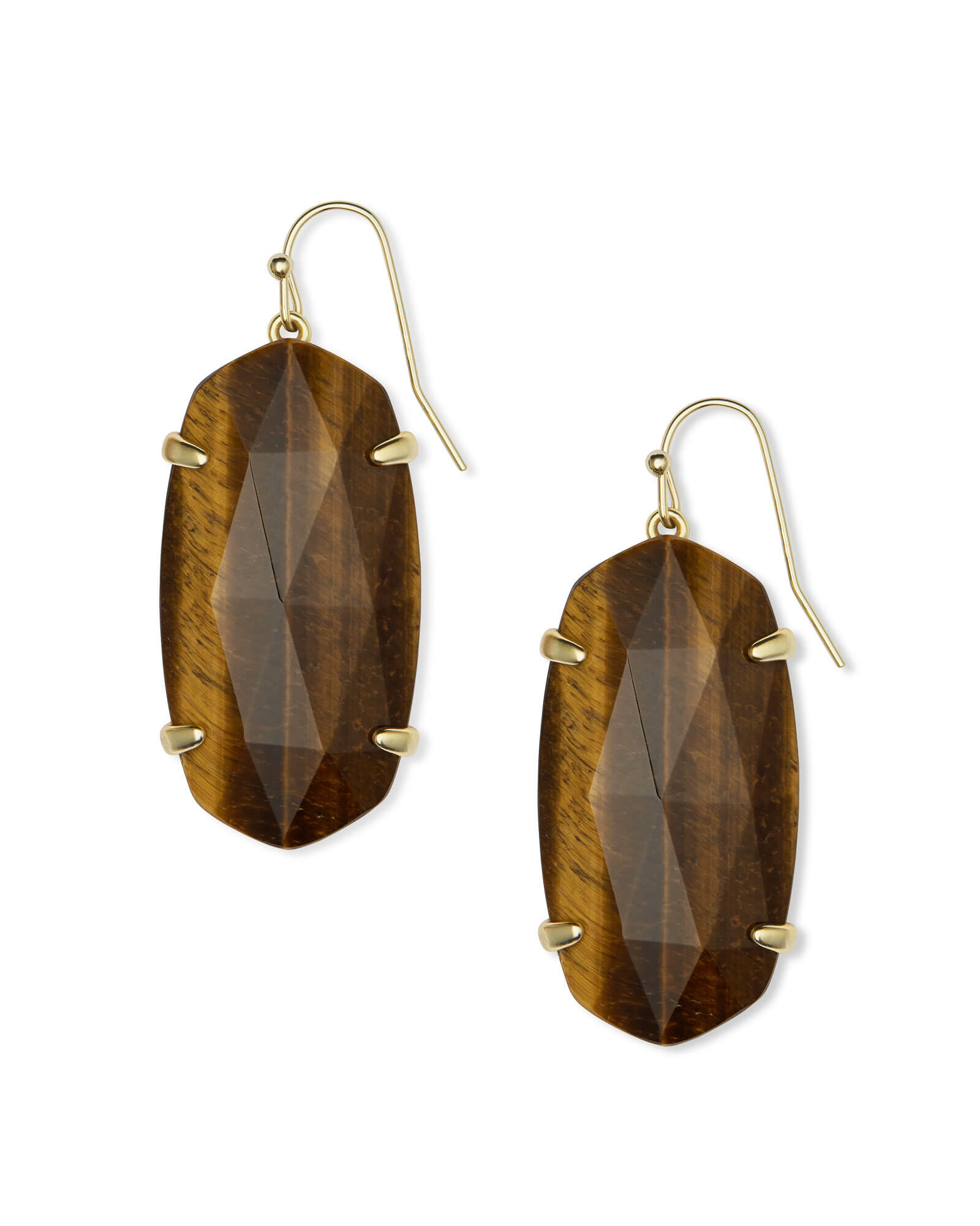 Esme Gold Drop Earrings in Brown Tigers Eye