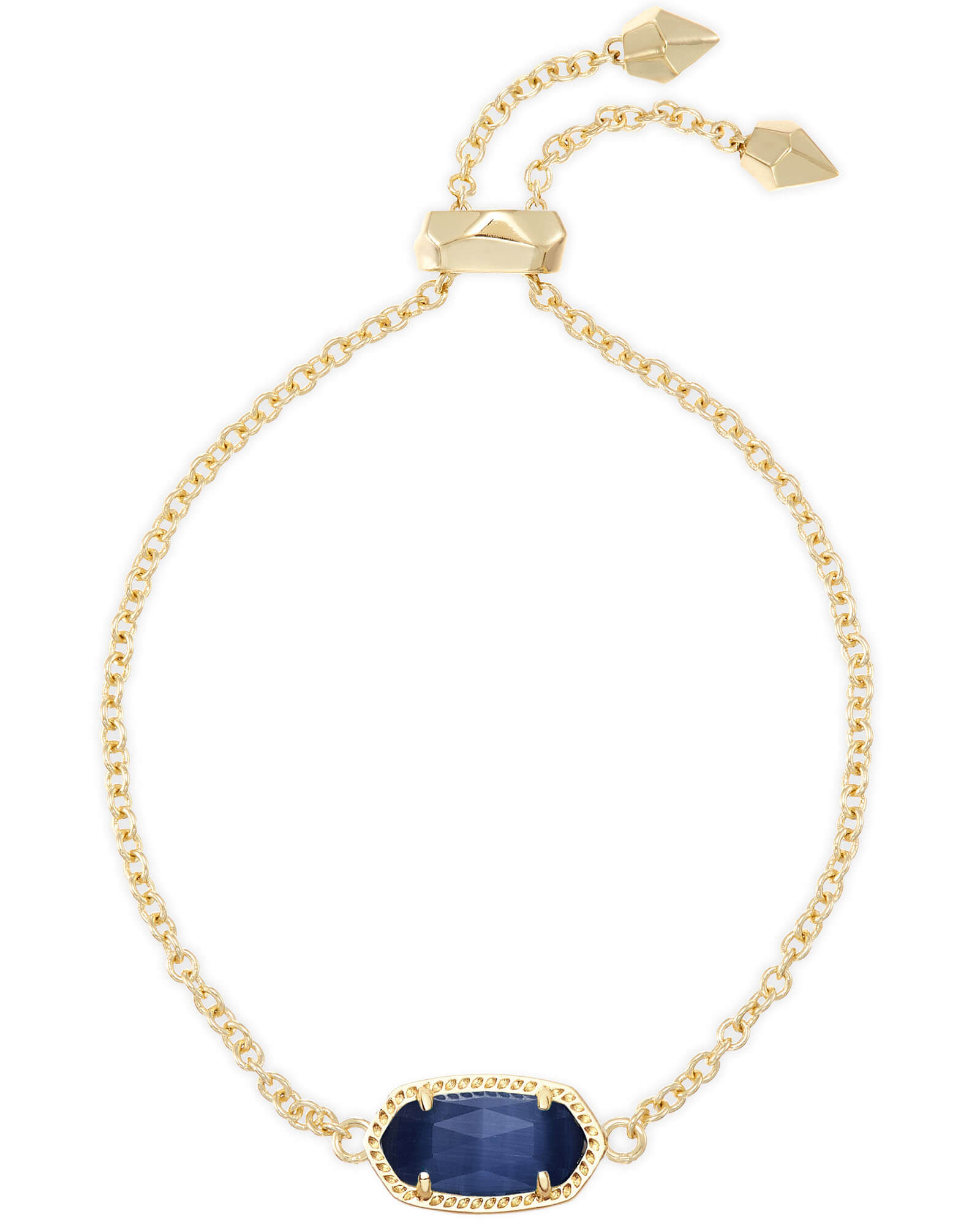 Elaina Gold Adjustable Chain Bracelet in Navy Cat's Eye