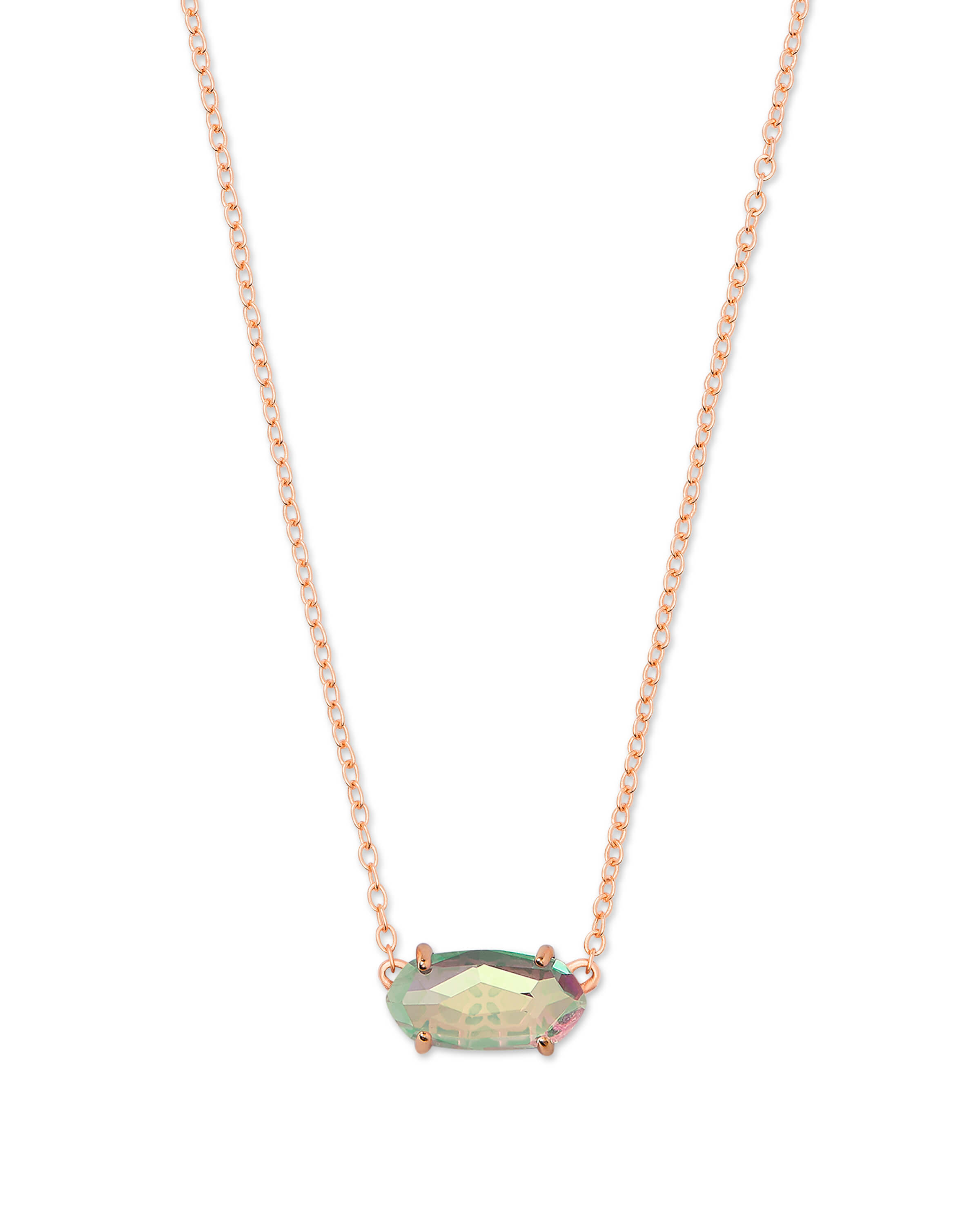 Ever Rose Gold Pendant Necklace in Dichroic Glass