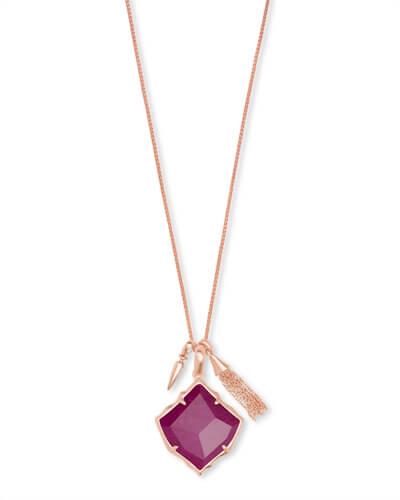 Arlet Rose Gold Pendant Necklace in Maroon Jade