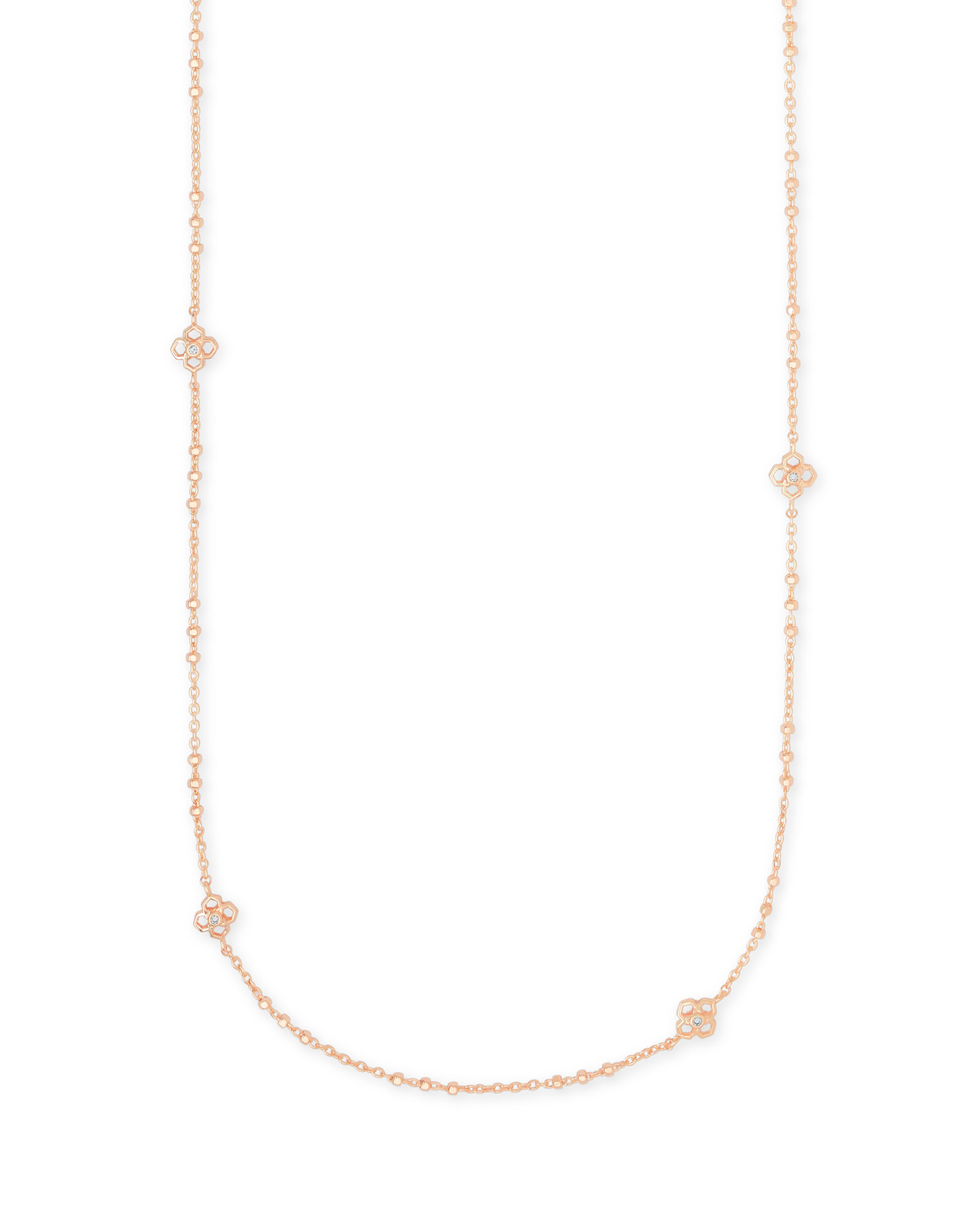 Rue Long Strand Necklace In Rose Gold