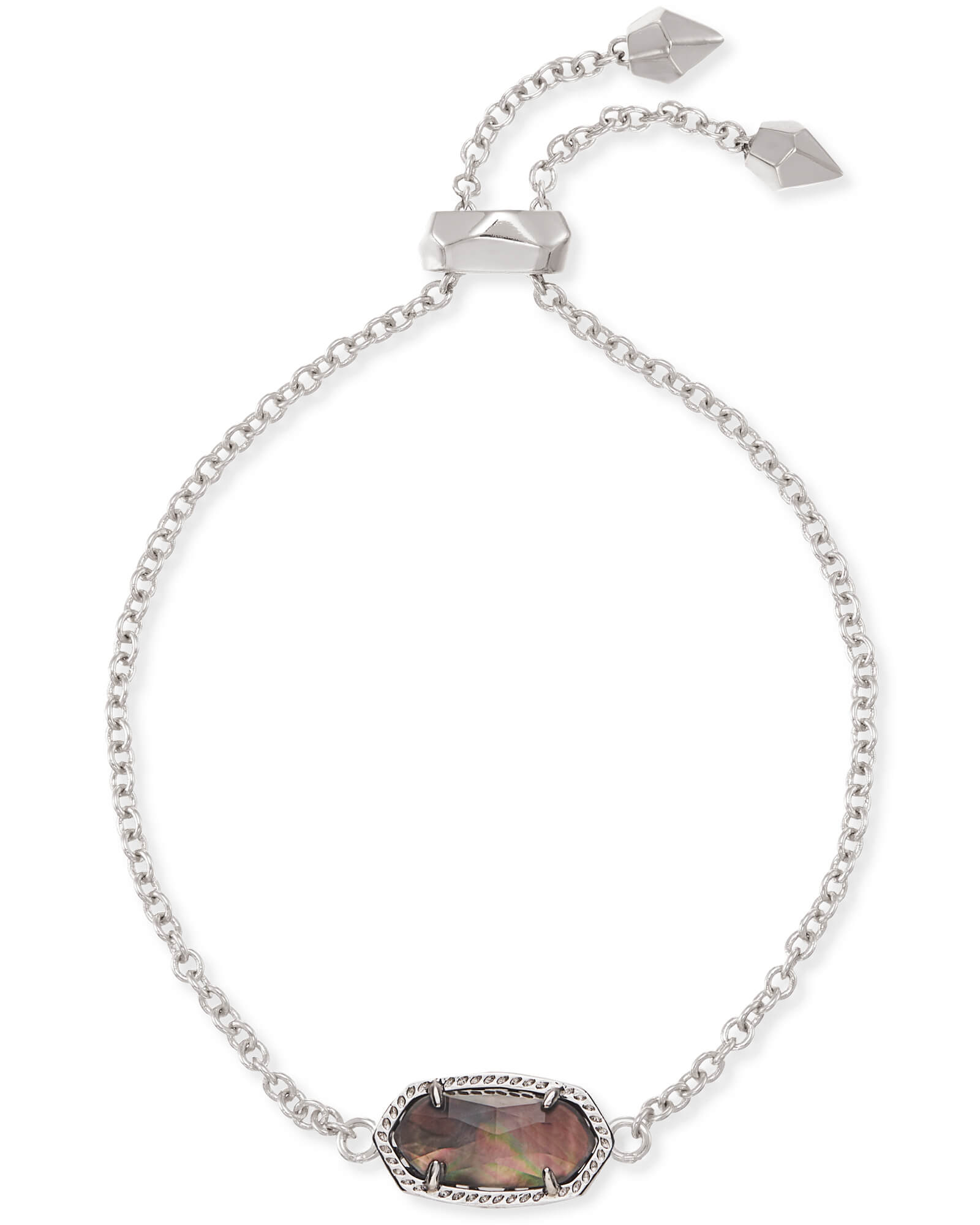 Elaina Silver Chain Bracelet in Black Mother of Pearl
