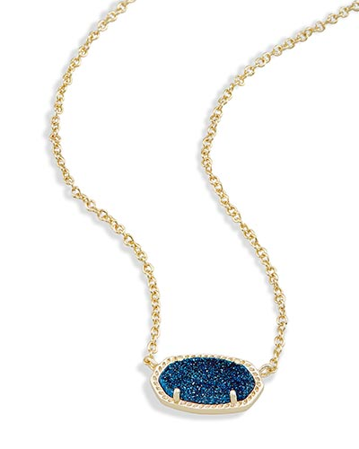 Elisa Pendant Necklace in Blue Drusy