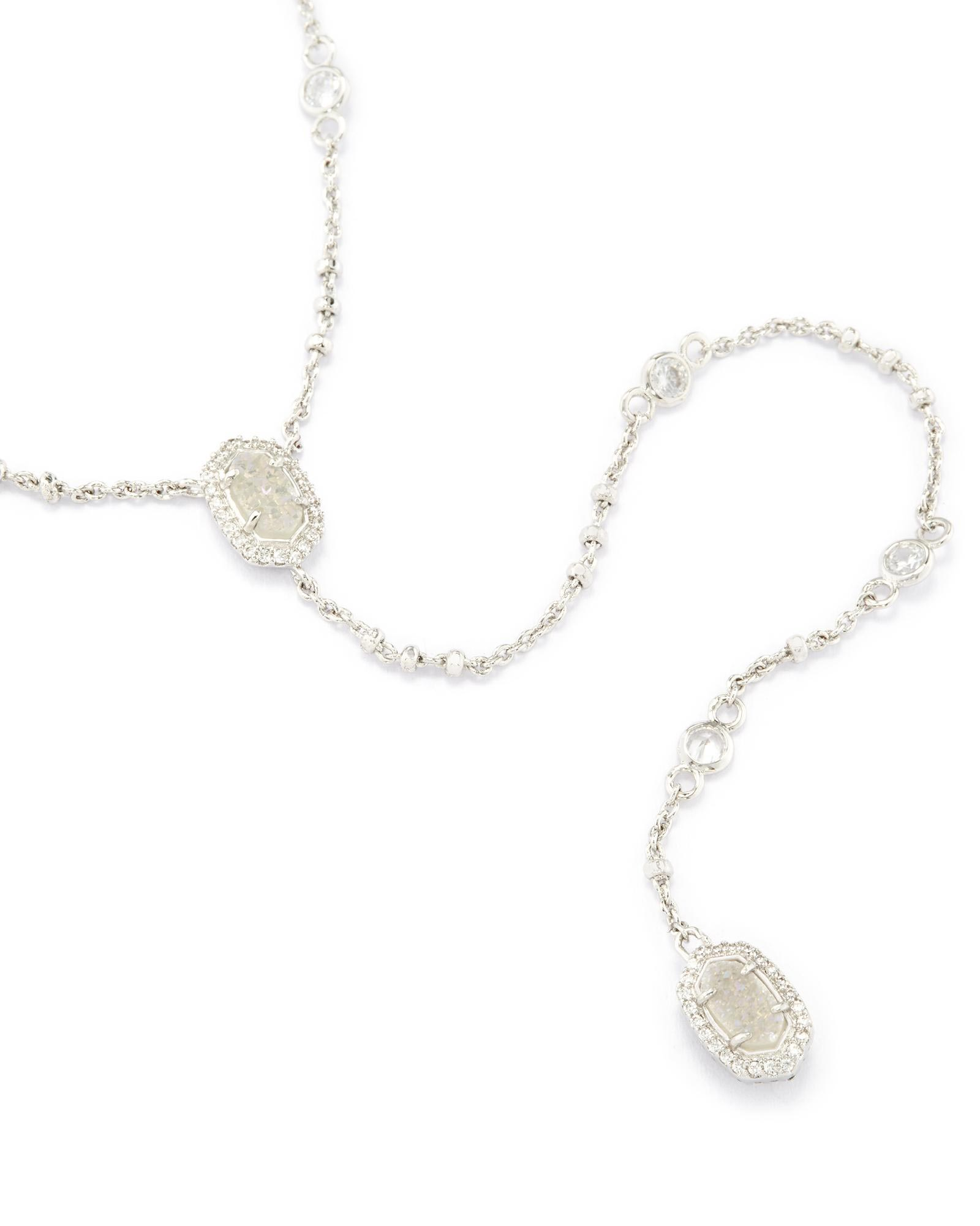 Claudia Lariat Necklace in Silver