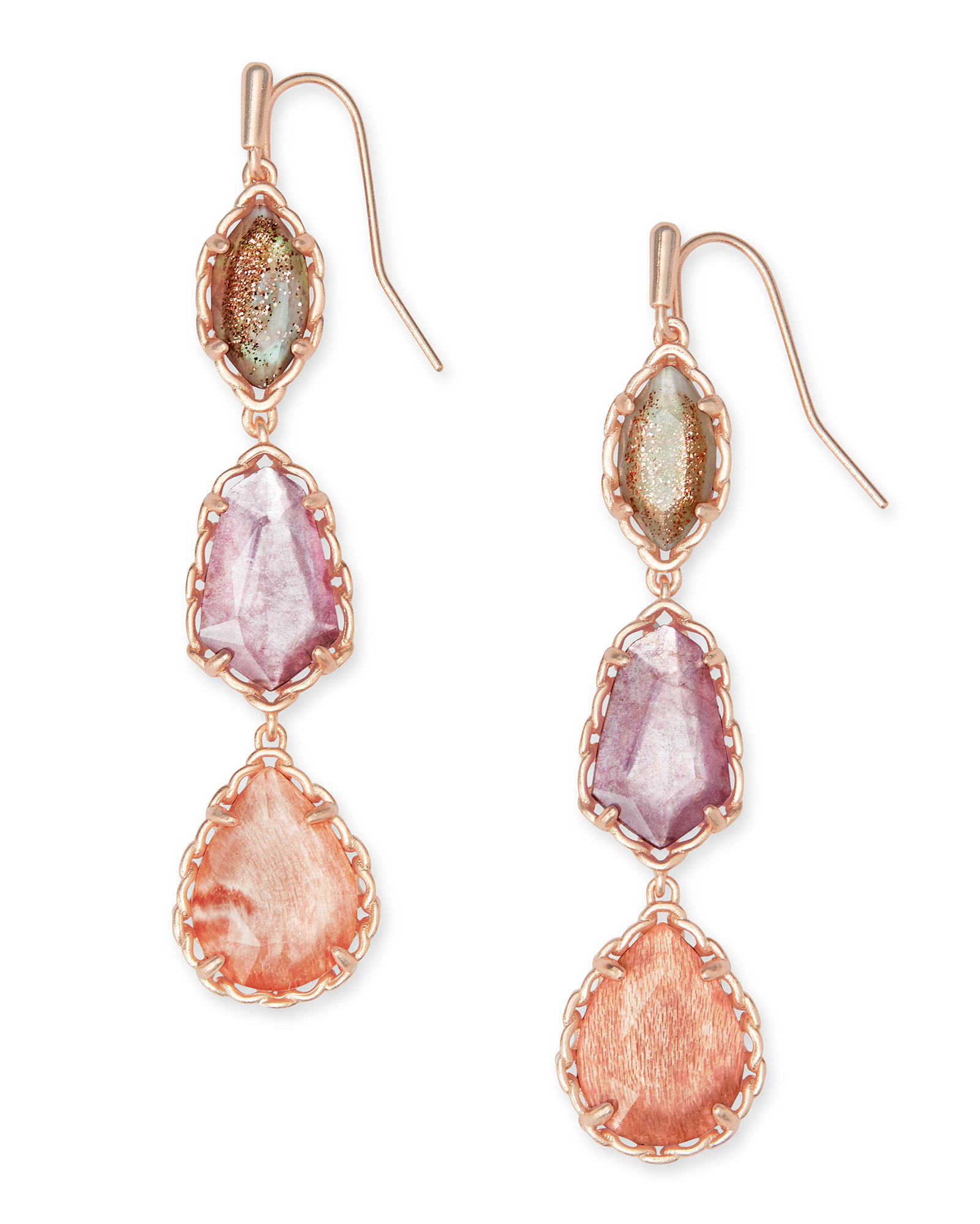 Gwenyth Rose Gold Linear Earrings In Blush Mix