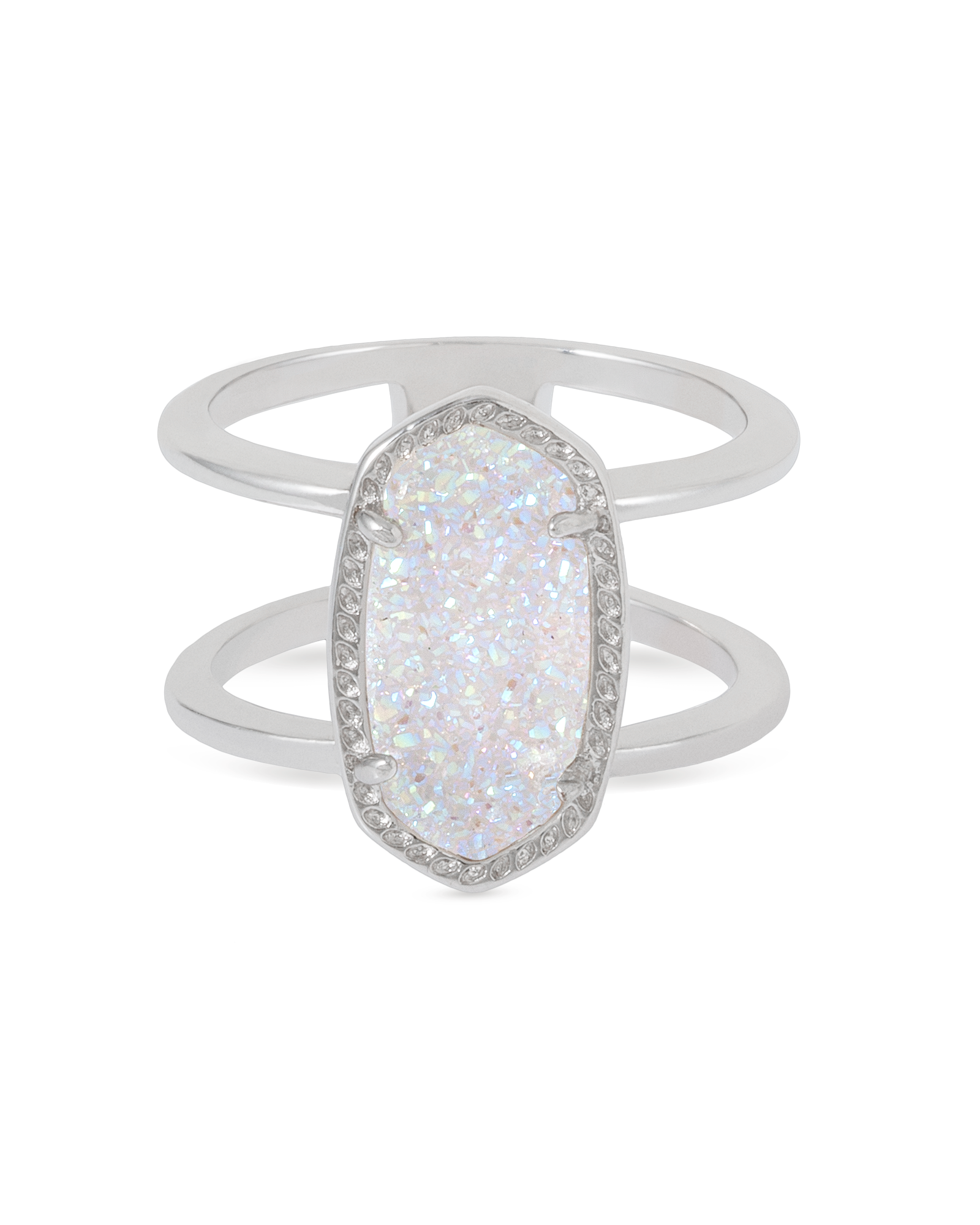 Elyse Silver Ring in Iridescent Drusy Size 6 Kendra Scott