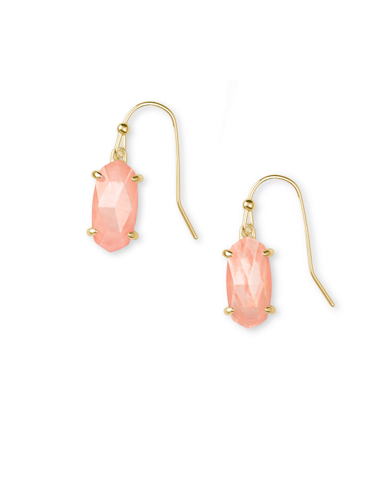 Lemmi Gold Drop Earrings in Peach Pearl