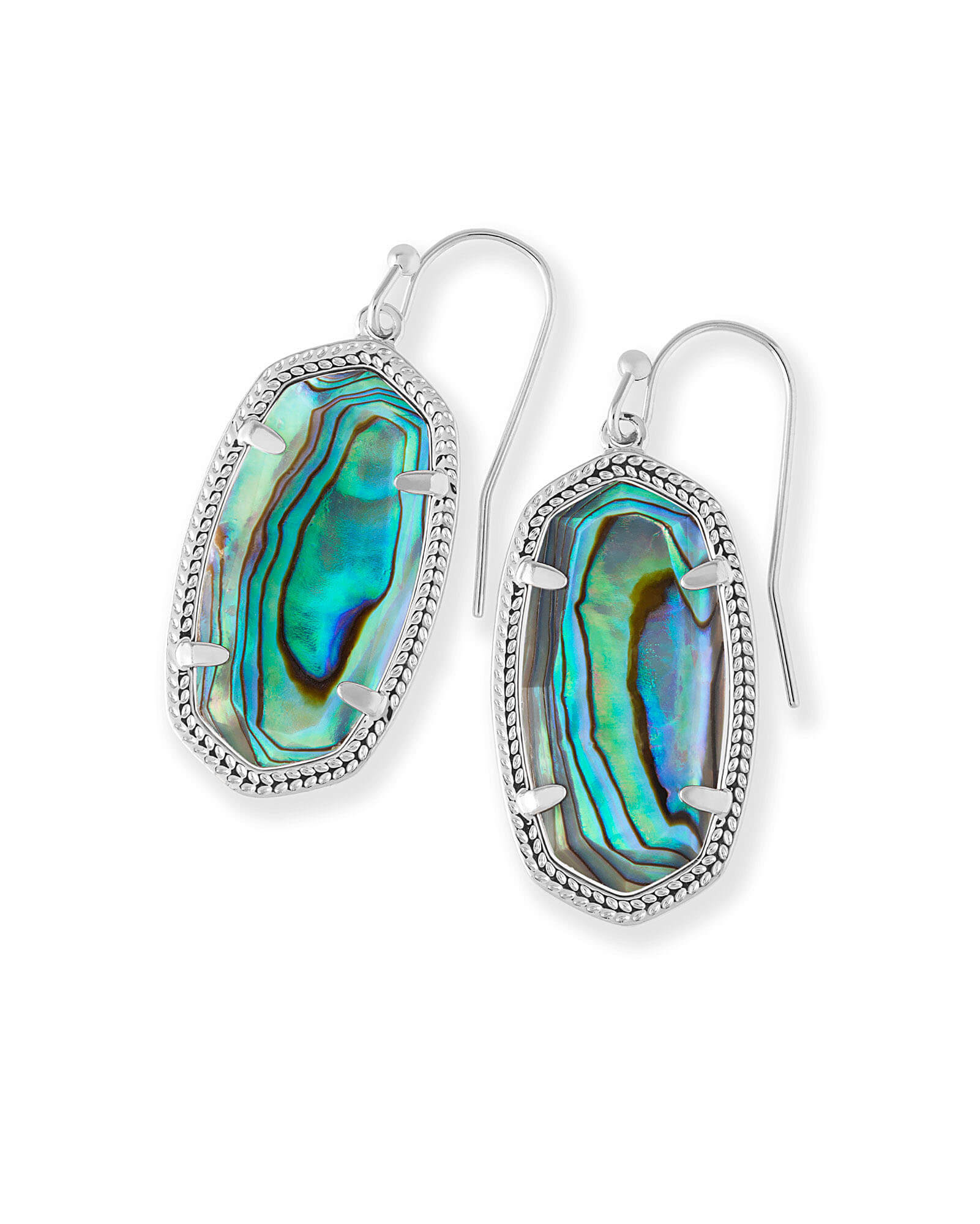 Dani Silver Drop Earrings in Abalone Shell