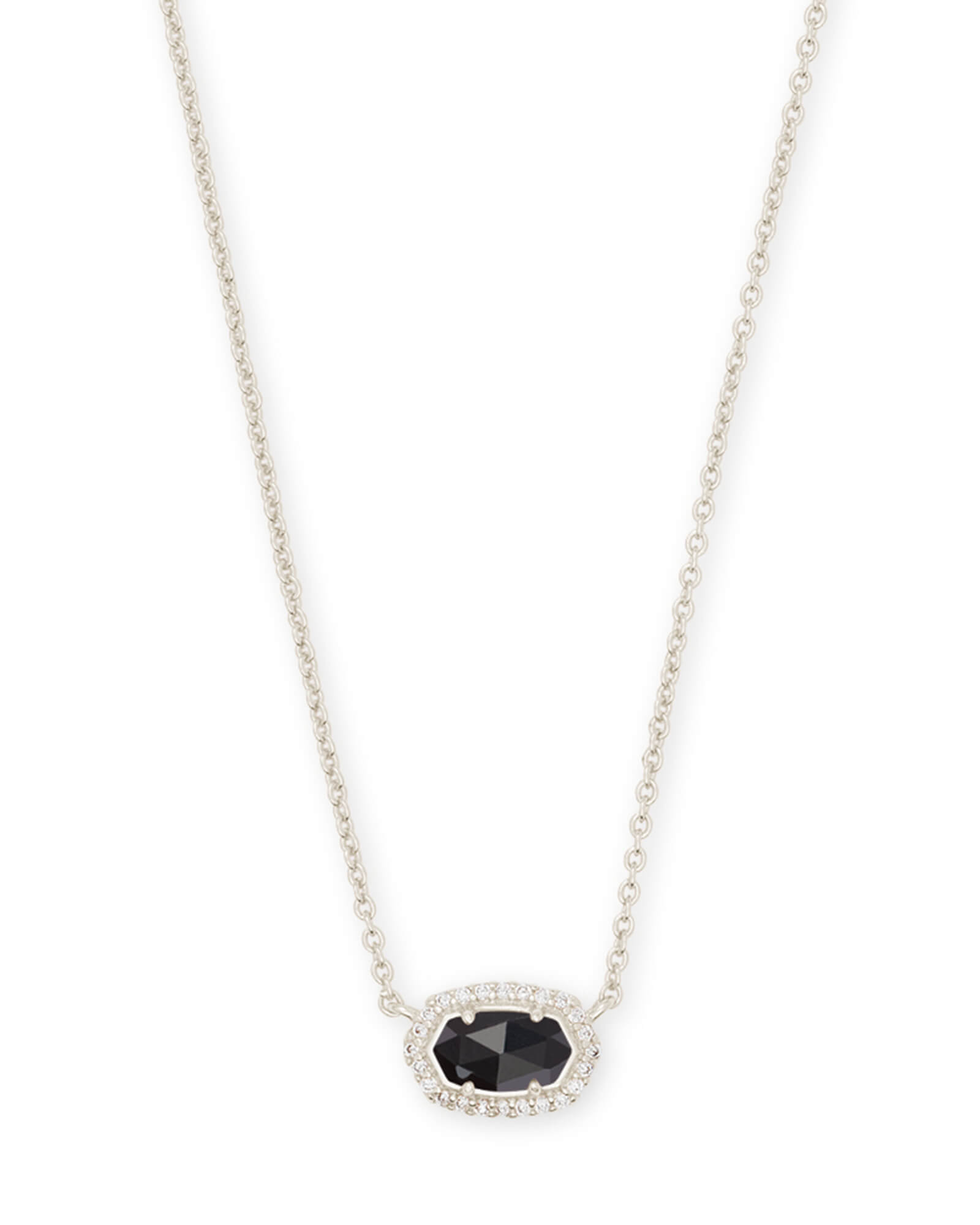 Chelsea Silver Pendant Necklace in Black
