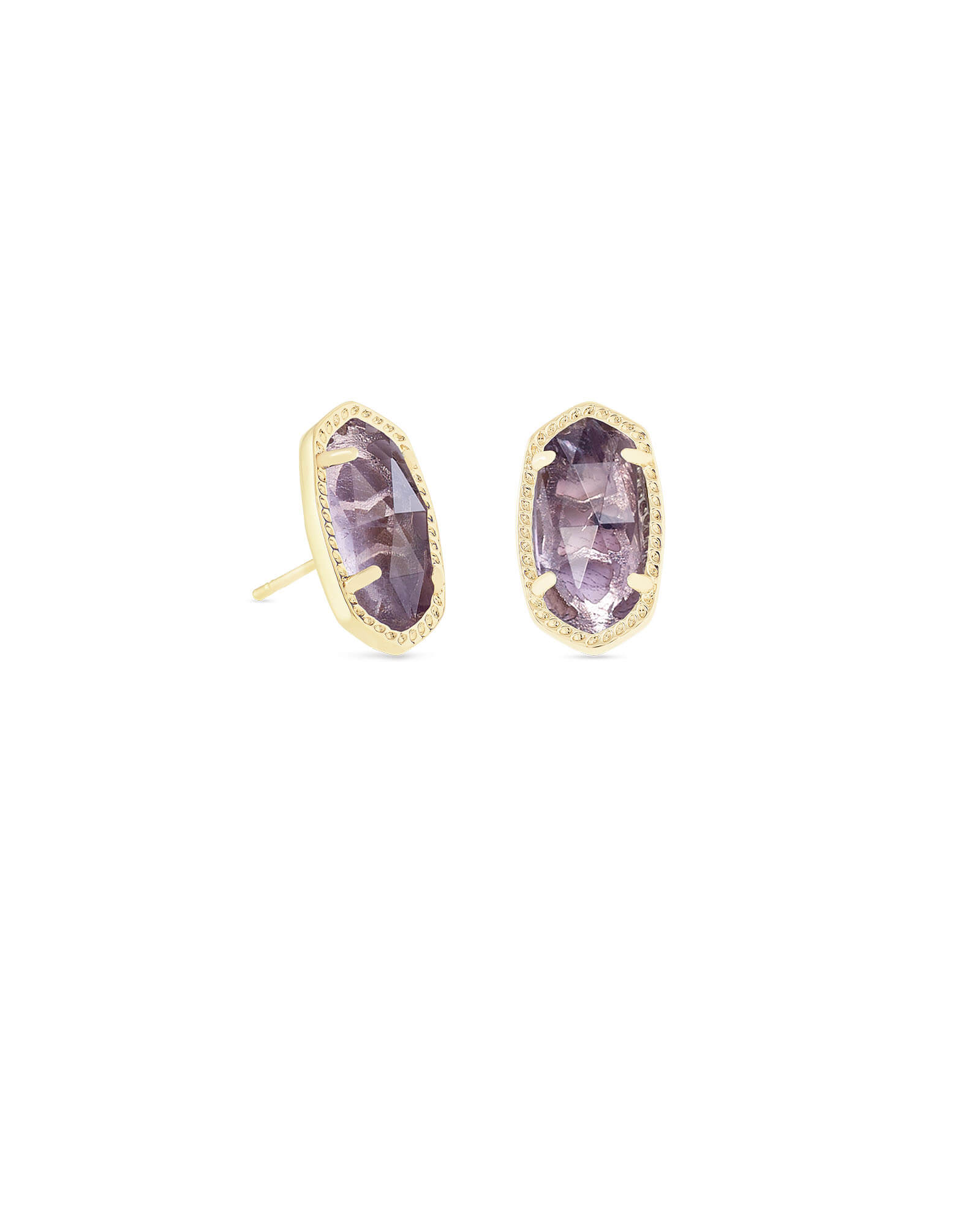 Ellie Gold Stud Earrings in Amethyst