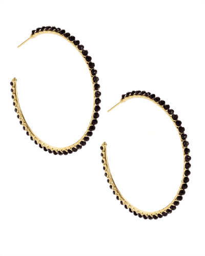 Birdie Gold Hoop Earrings in Black Opaque Glass