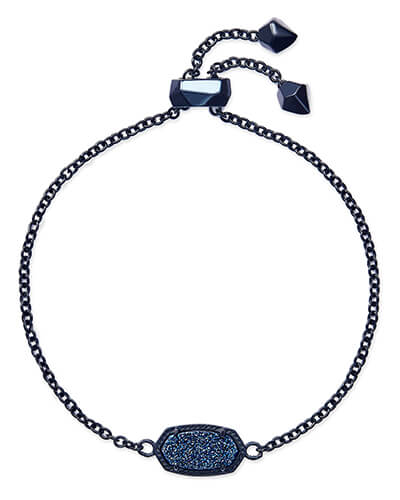 Elaina Navy Gunmetal Adjustable Chain Bracelet in Blue Drusy
