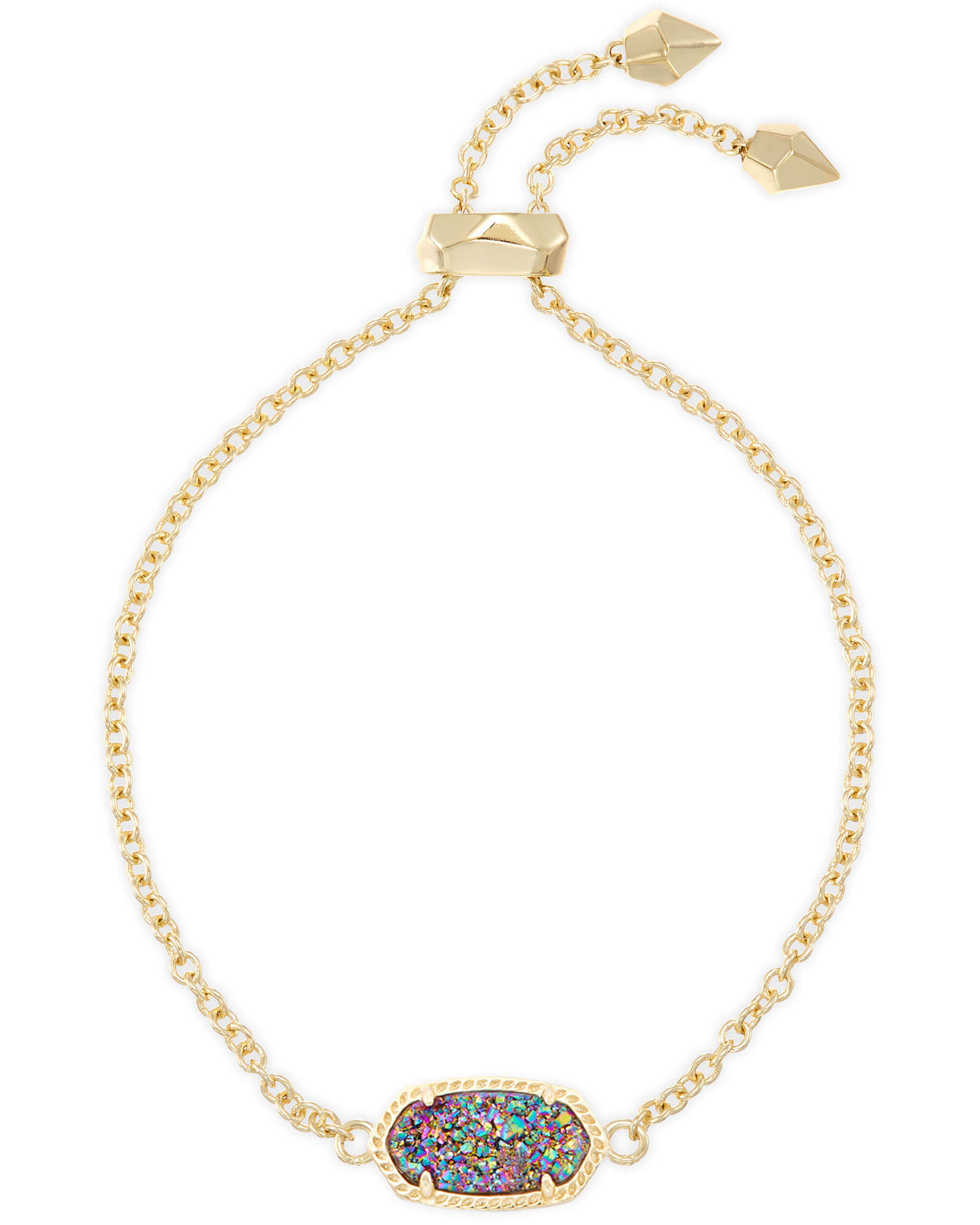 Elaina Gold Adjustable Chain Bracelet in Multicolor Drusy
