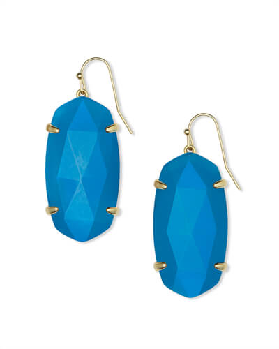 Esme Gold Drop Earrings in Teal Agate