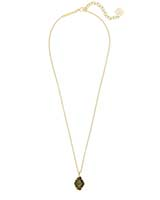 Ellington Gold Pendant Necklace in Olive Epidote