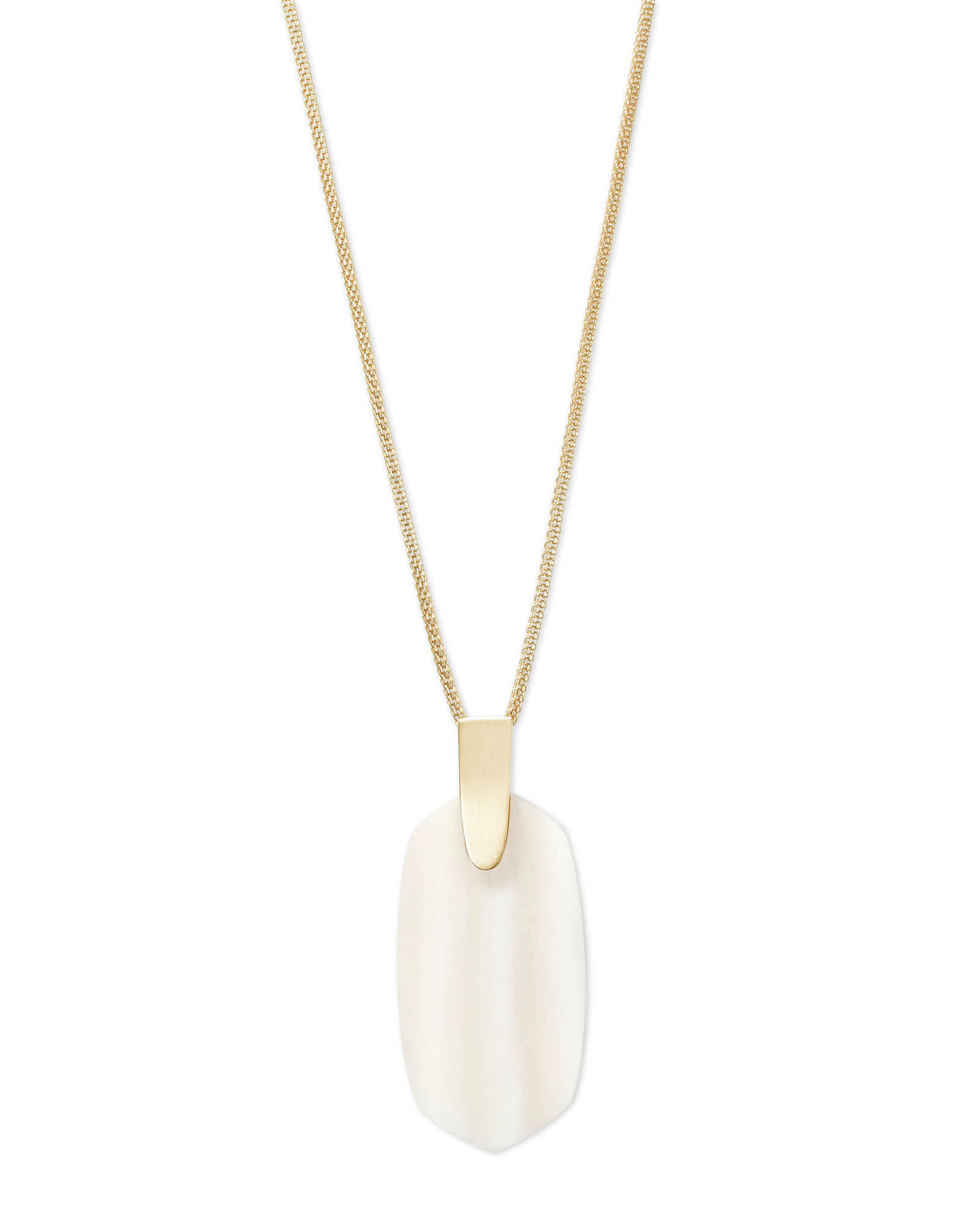 Inez Gold Long Pendant Necklace in White Pearl
