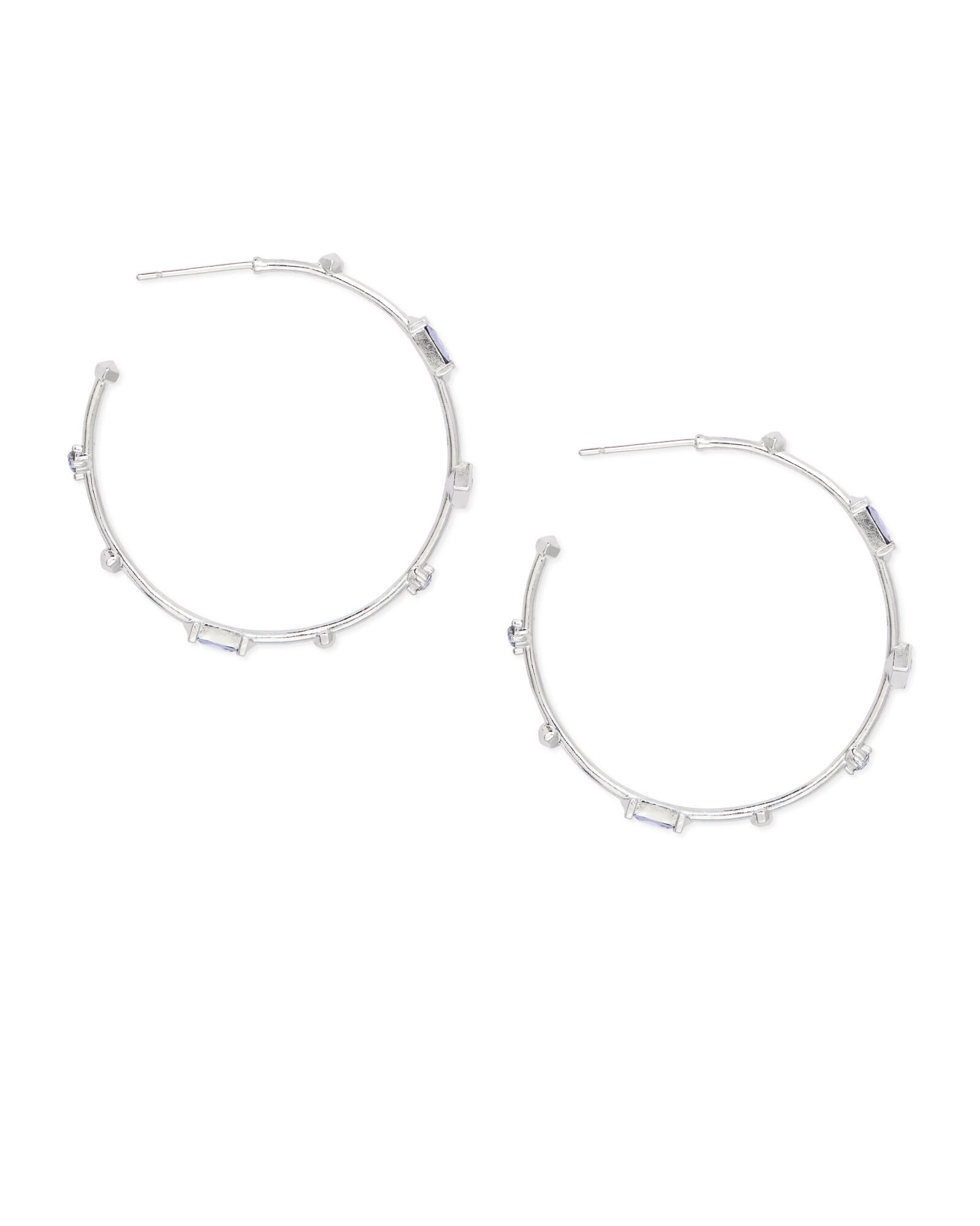 Rhoan Silver Hoop Earrings in Lilac Mix
