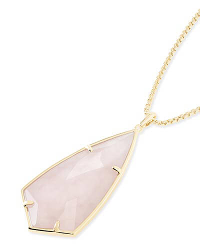 Carole Long Pendant Necklace in Rose Quartz