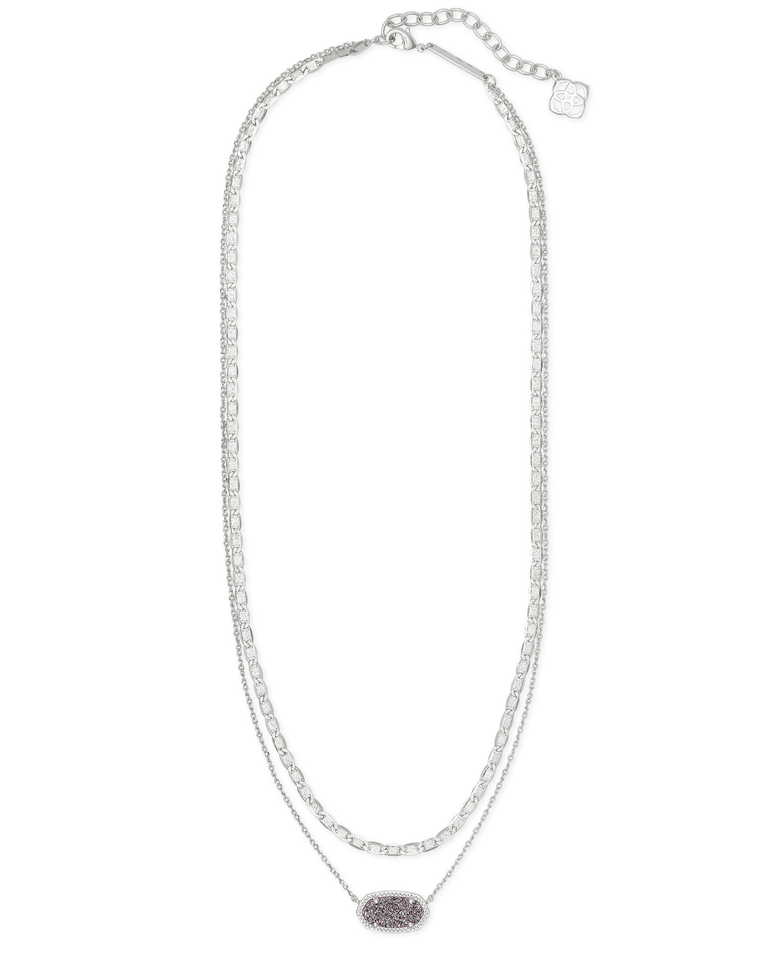 Elisa Silver Multi Strand Necklace in Platinum Drusy