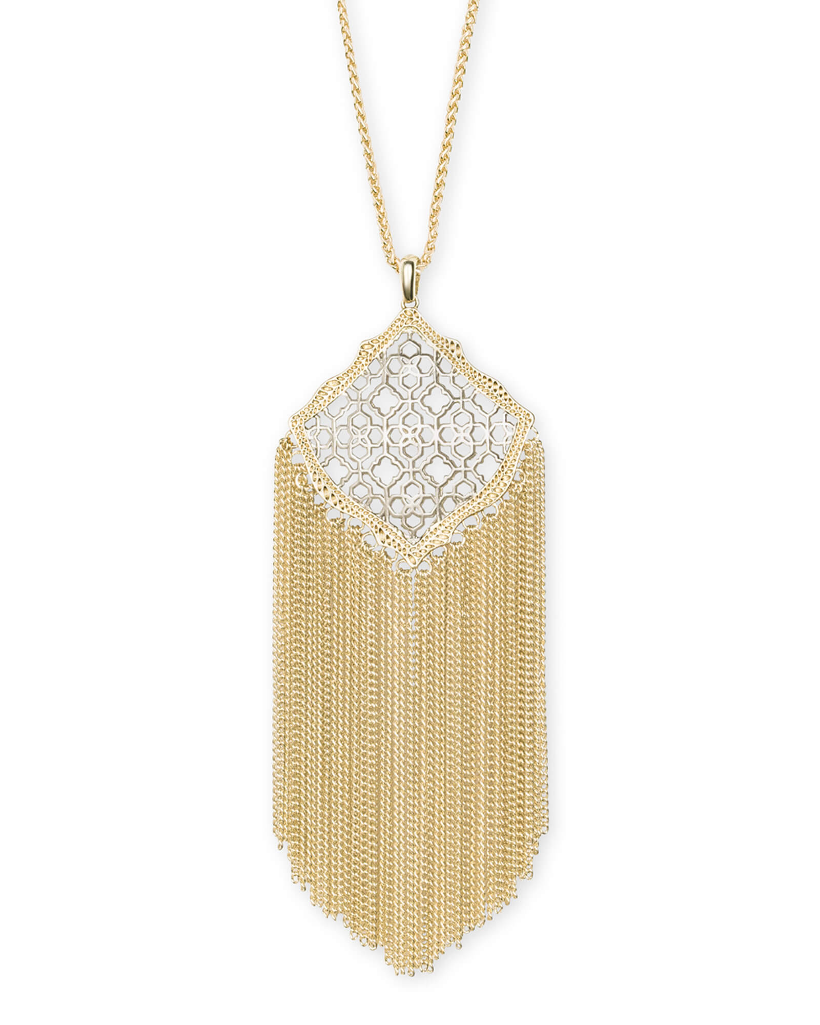 Kingston Gold Long Pendant Necklace in Silver Filigree Mix