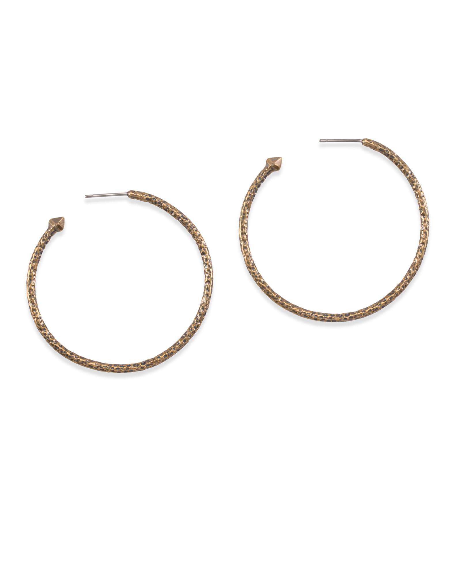 Hammered Hoop Earrings In Vintage Gold