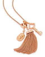 Zosia Long Pendant Necklace in Rose Gold