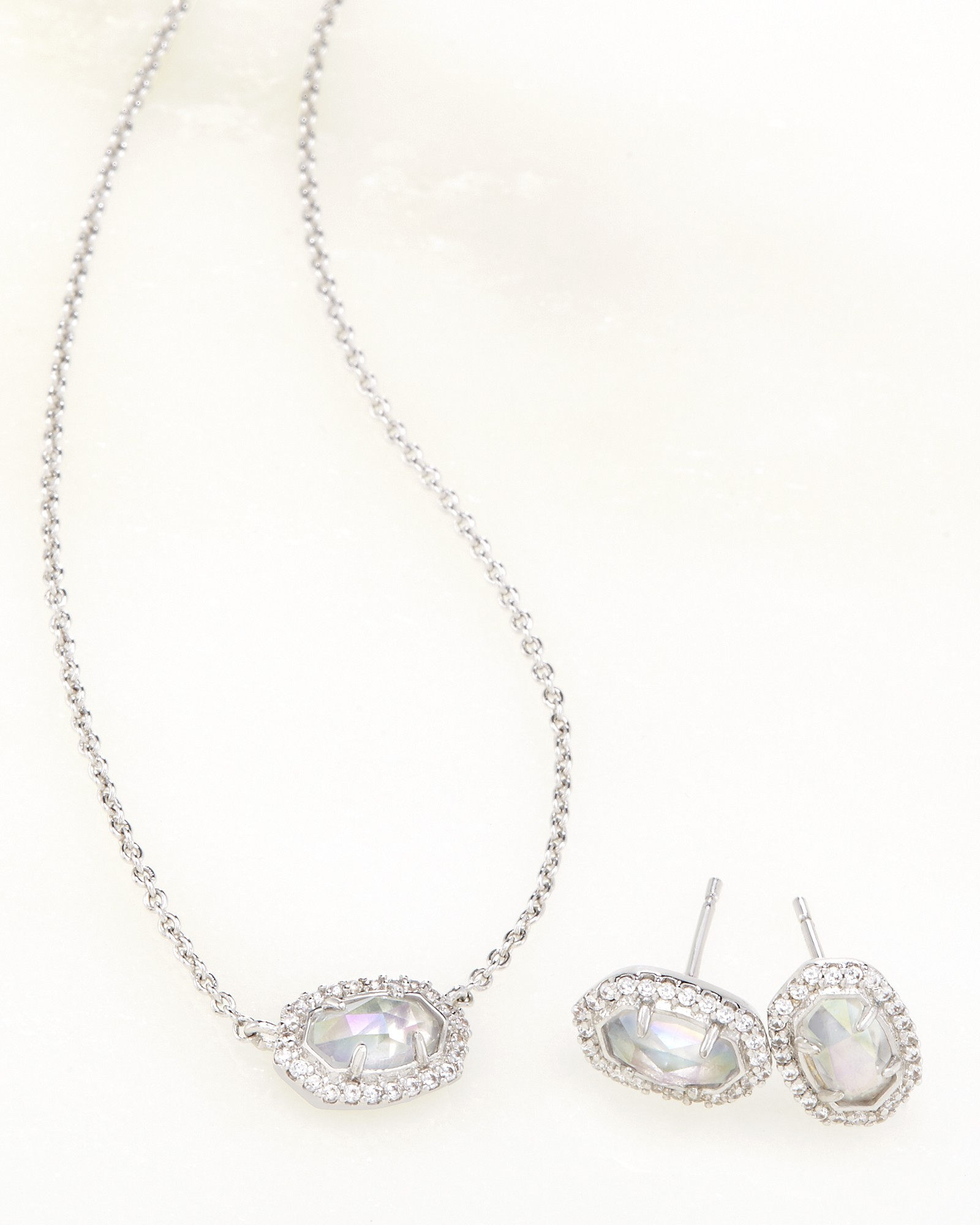 Cade Earrings And Chelsea Necklace Set In Iridescent Clear Gl