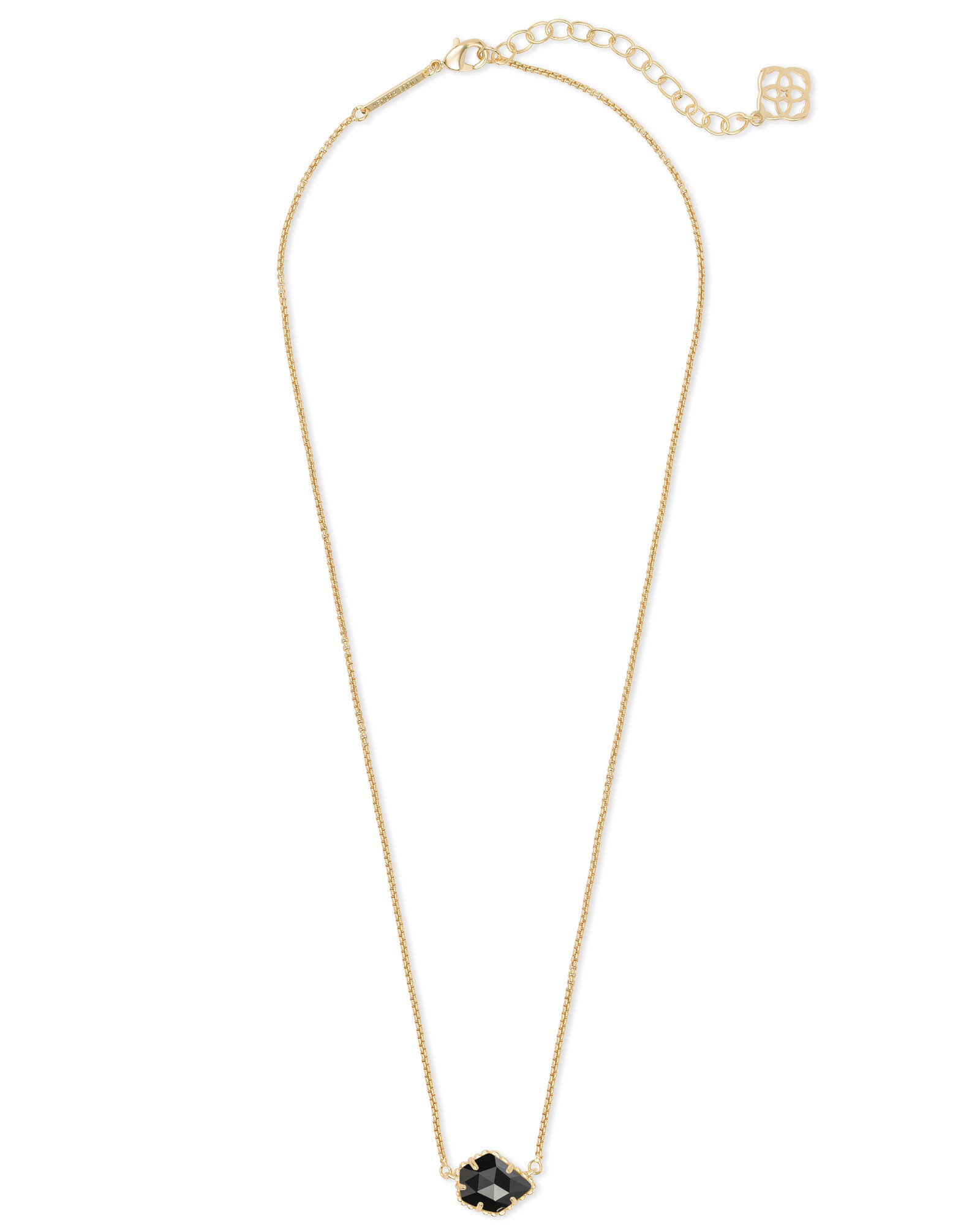Tess Gold Small Pendant Necklace In Black Opaque Glass