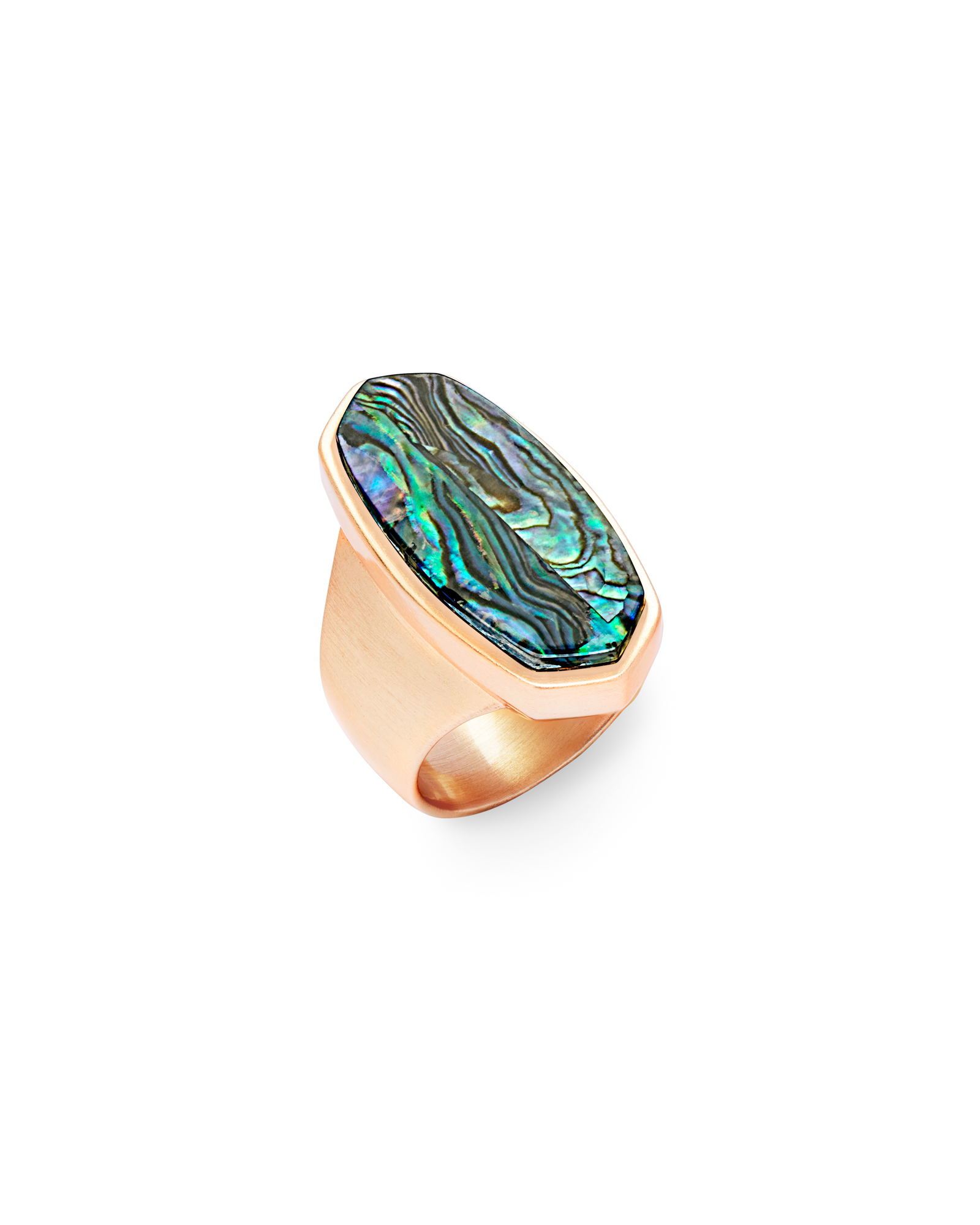 Kit Rose Gold Cocktail Ring in Abalone Shell - 8