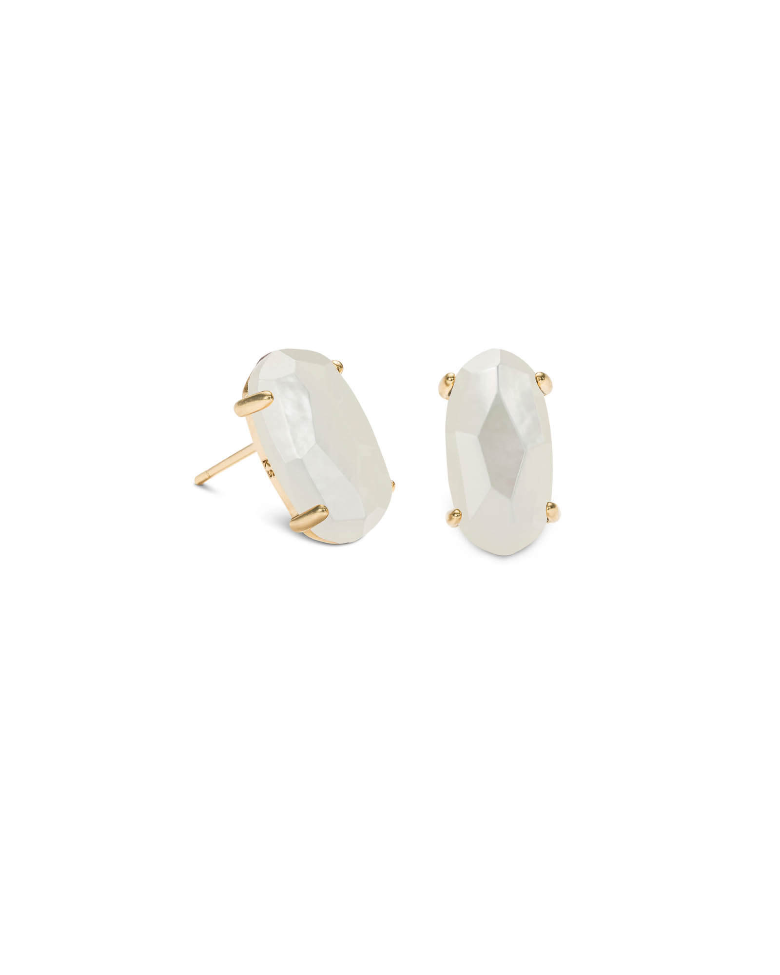 Betty Gold Stud Earrings in Ivory Pearl
