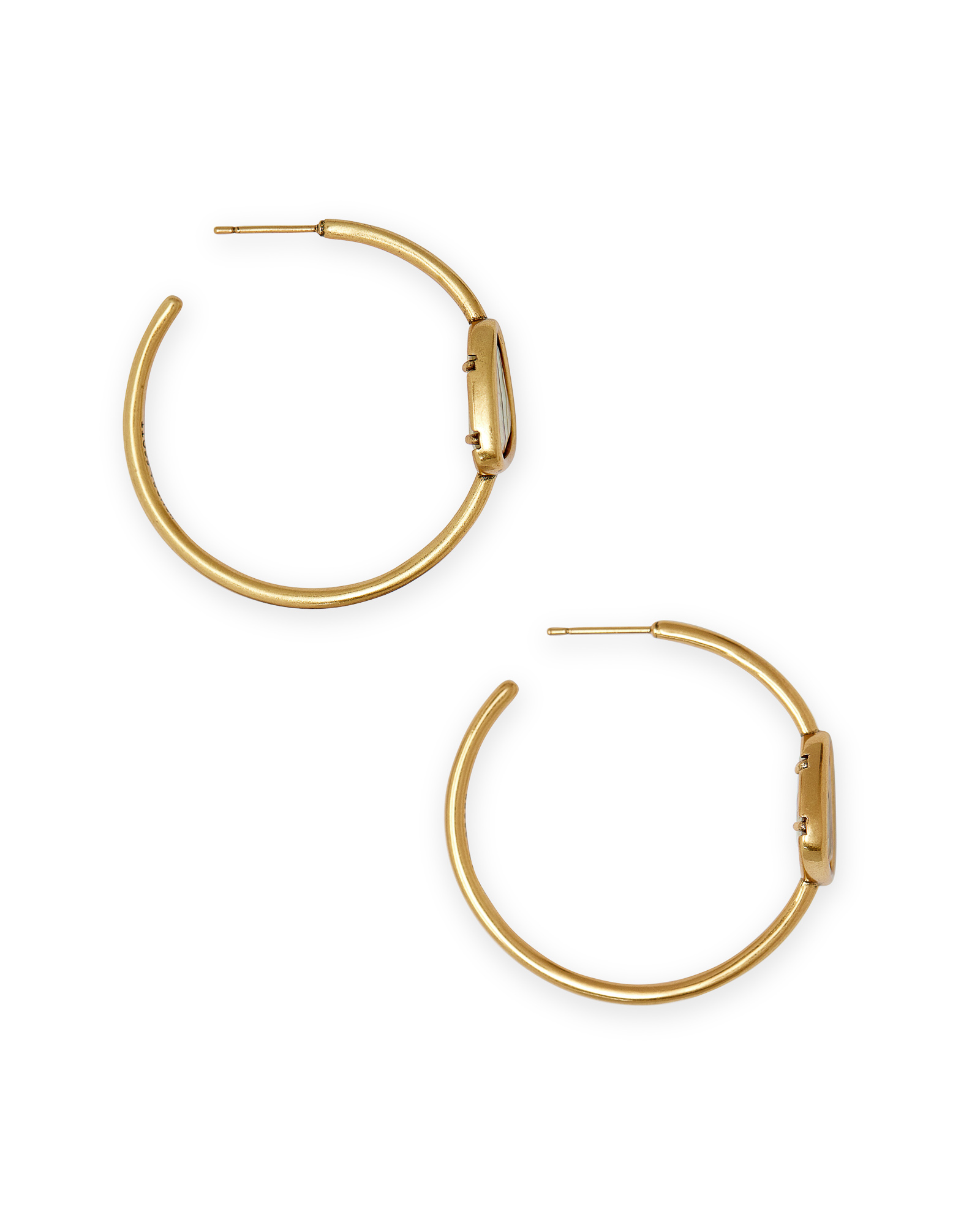 Margot Vintage Gold Hoop Earrings in White Abalone