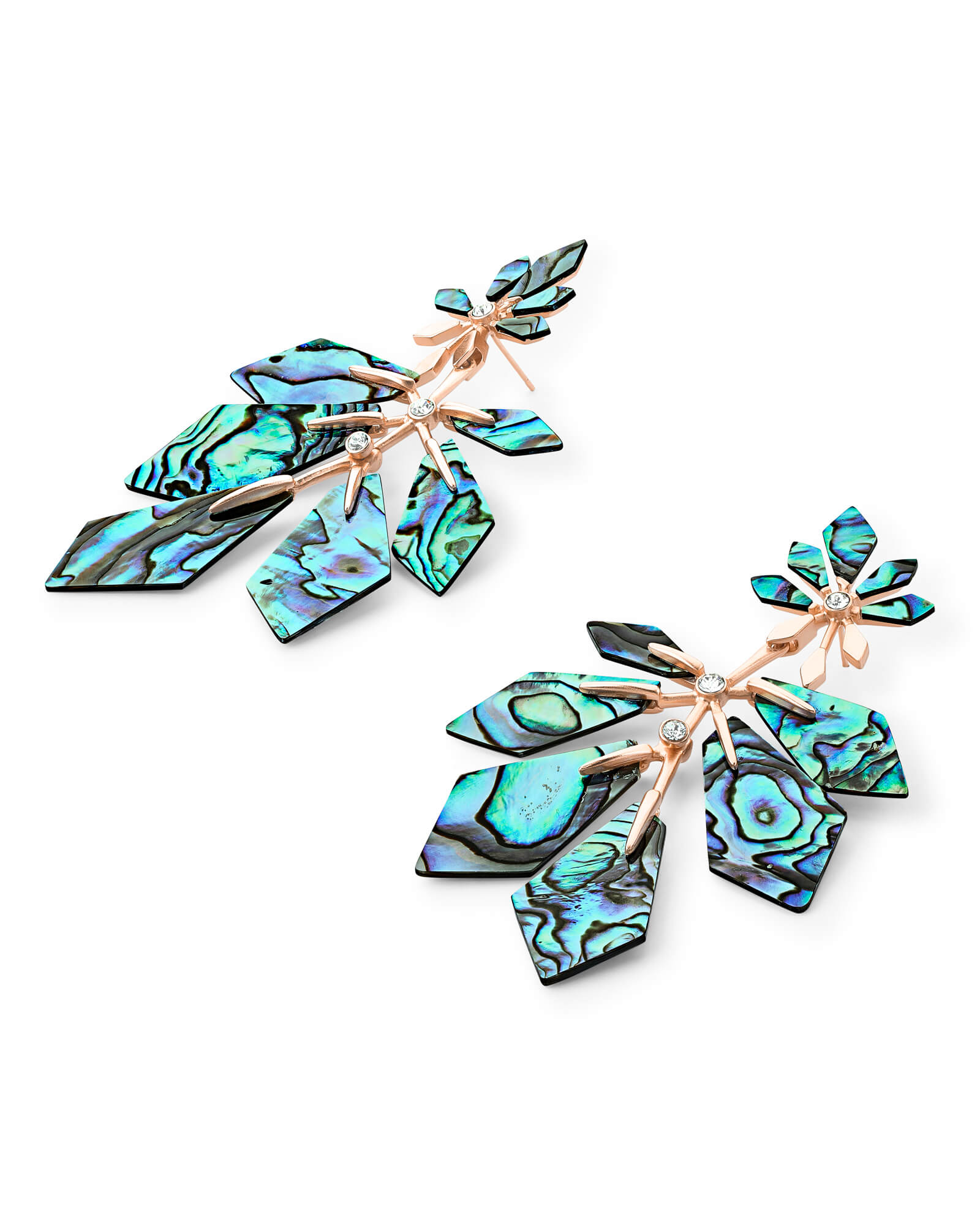 Jaylin Rose Gold Statement Earrings in Abalone Shell