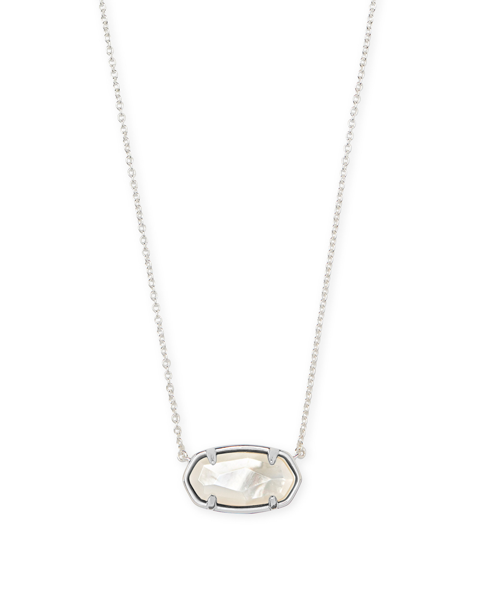 Elisa Sterling Silver Pendant Necklace in Ivory Mother Of Pearl