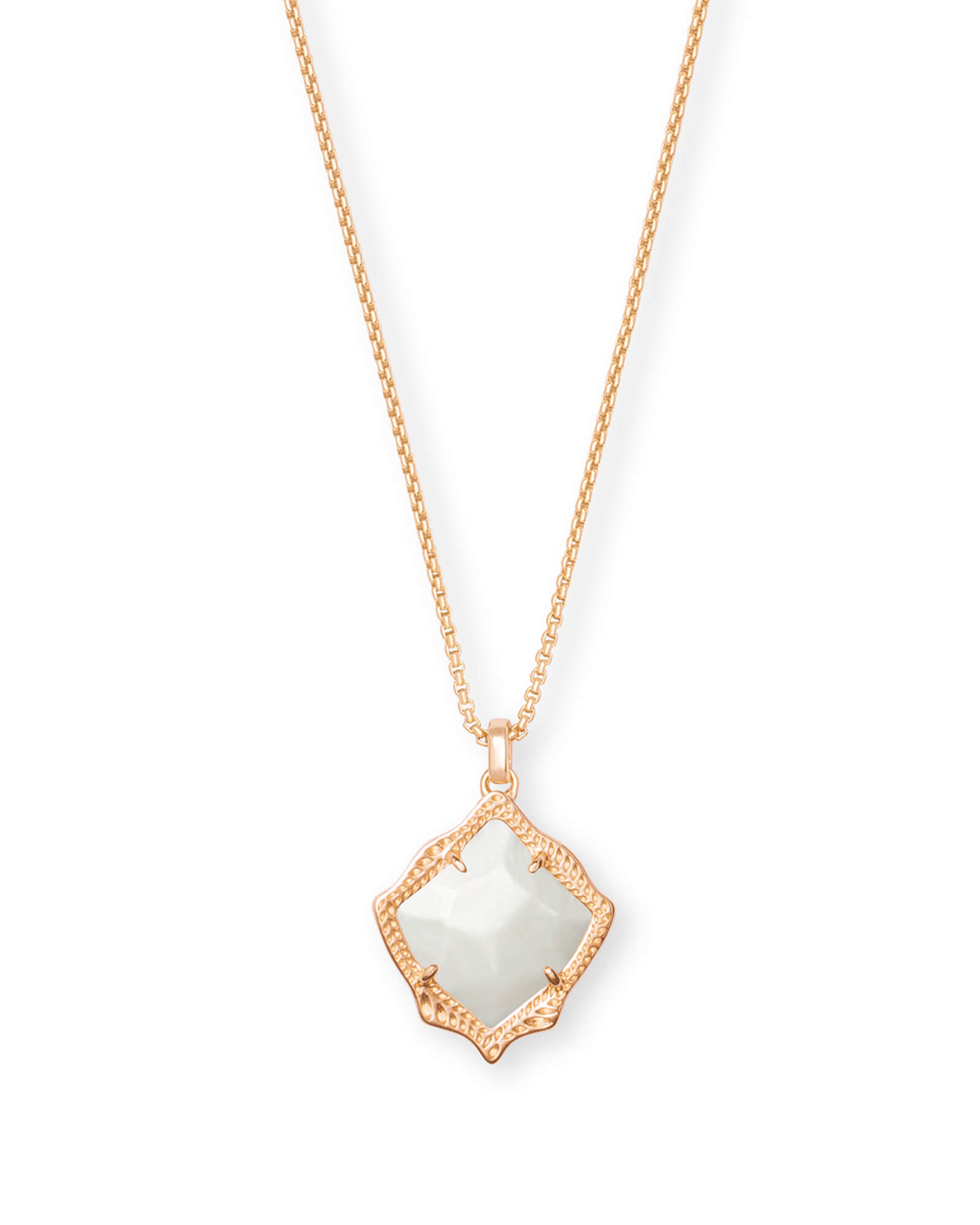 Kacey Rose Gold Long Pendant Necklace in Ivory Pearl