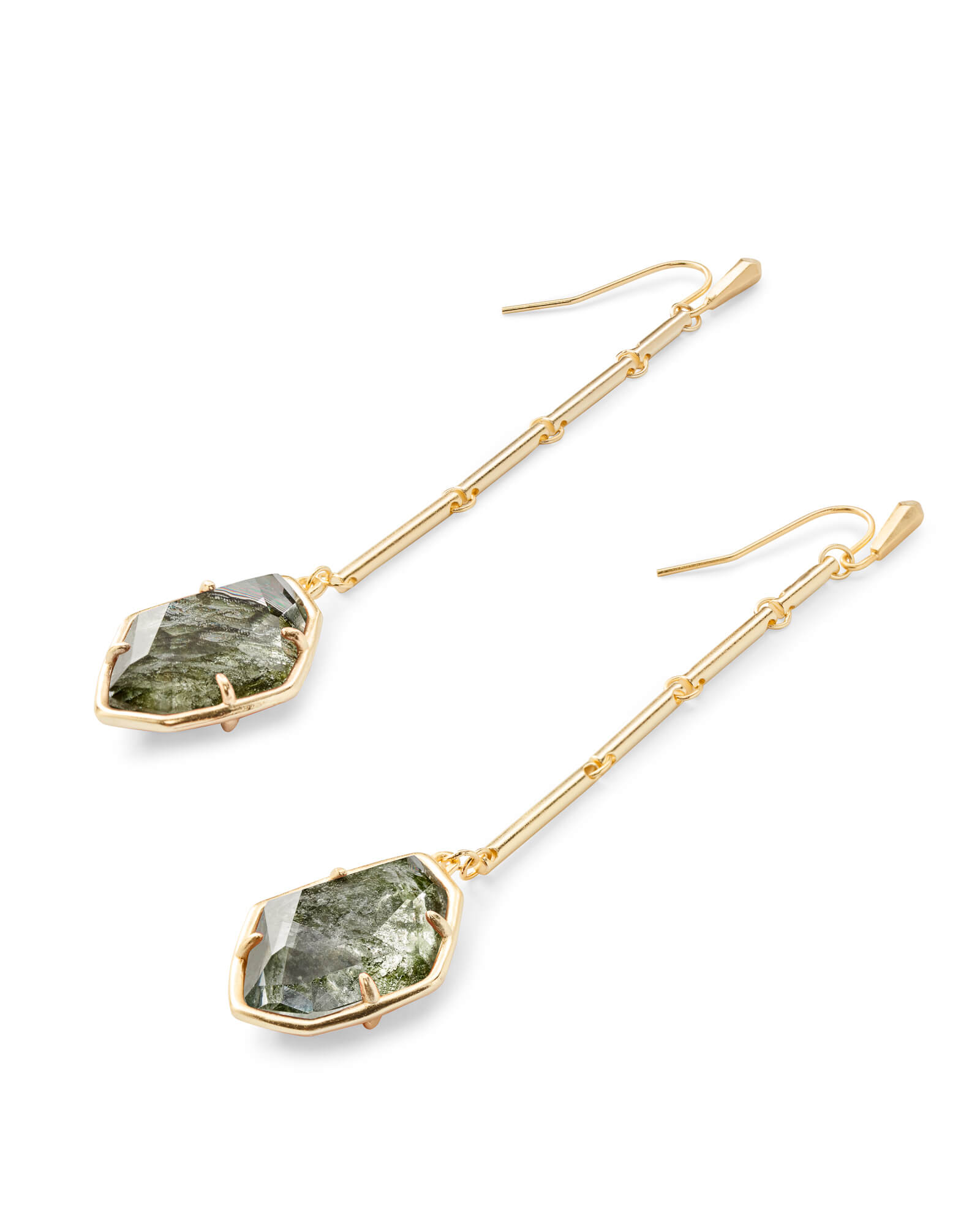 Charmian Gold Drop Earrings in Sage Mica