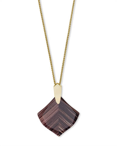 Aislinn Gold Long Pendant Necklace in Brown Dusted Glass