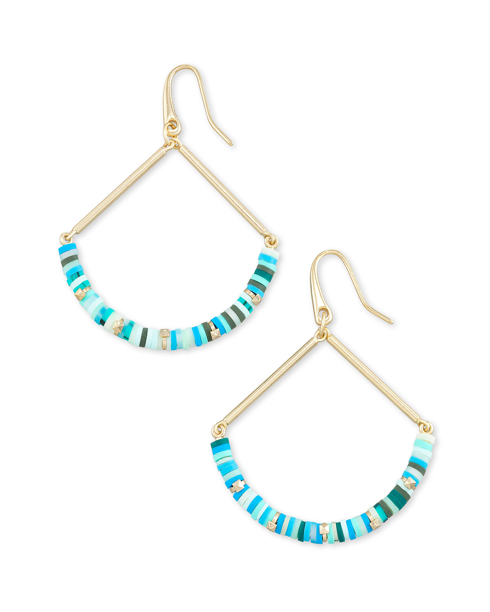 Reece Gold Drop Earrings in Sea Green Mix