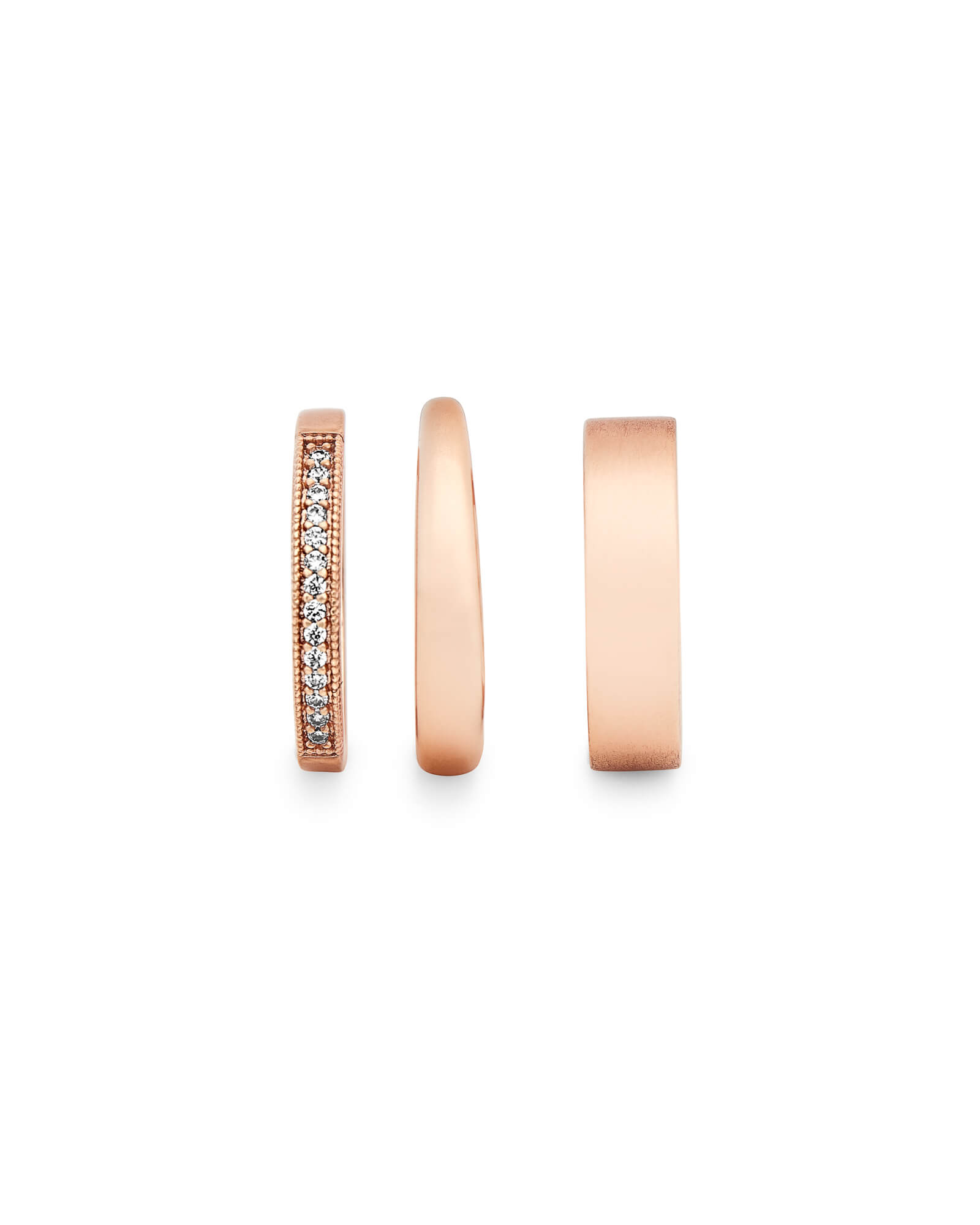 Tate Midi Ring Set in Rose Gold