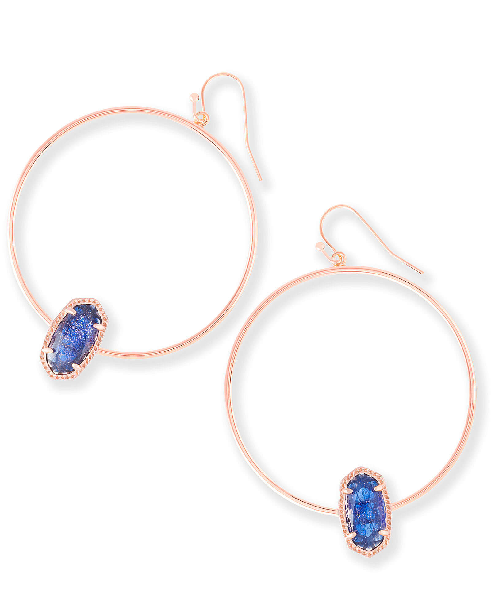 Elora Hoop Earrings in Navy Dusted Glass