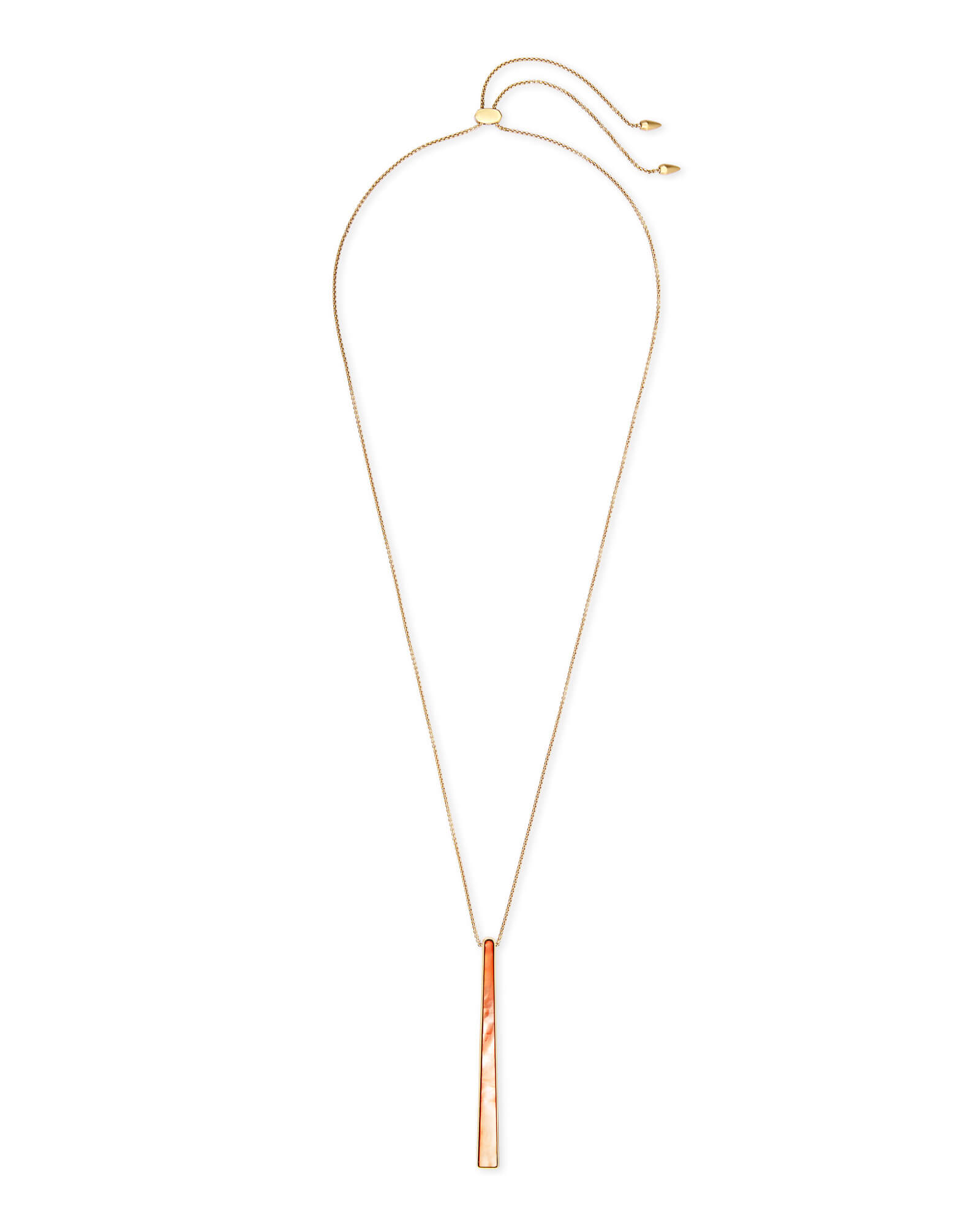 Baleigh Gold Long Pendant Necklace in Peach Pearl