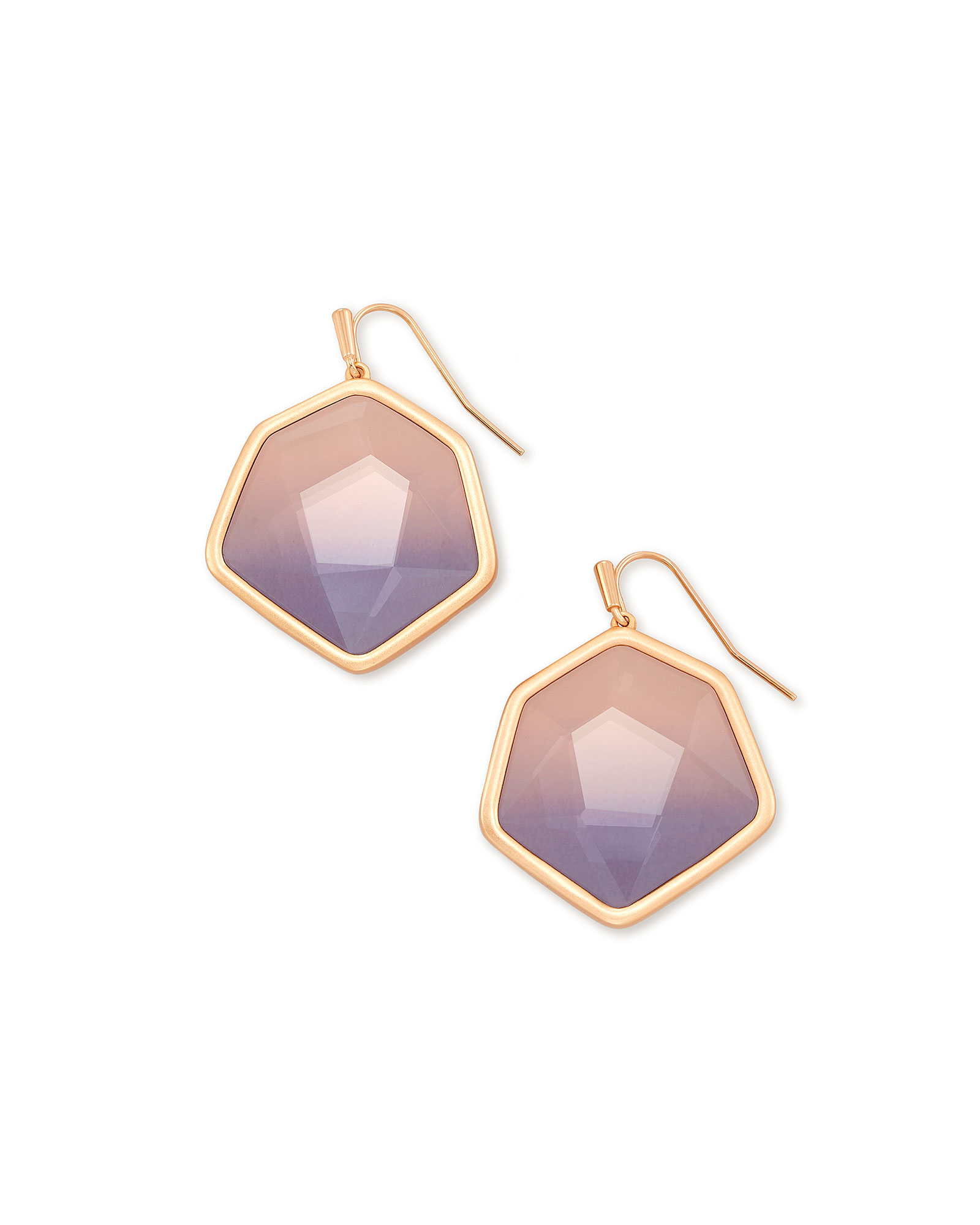 Vanessa Rose Gold Drop Earrings in Peach Ombre