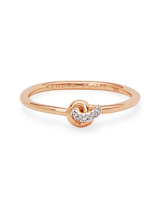 Love Knot 14K Rose Gold Band Ring in White Diamond
