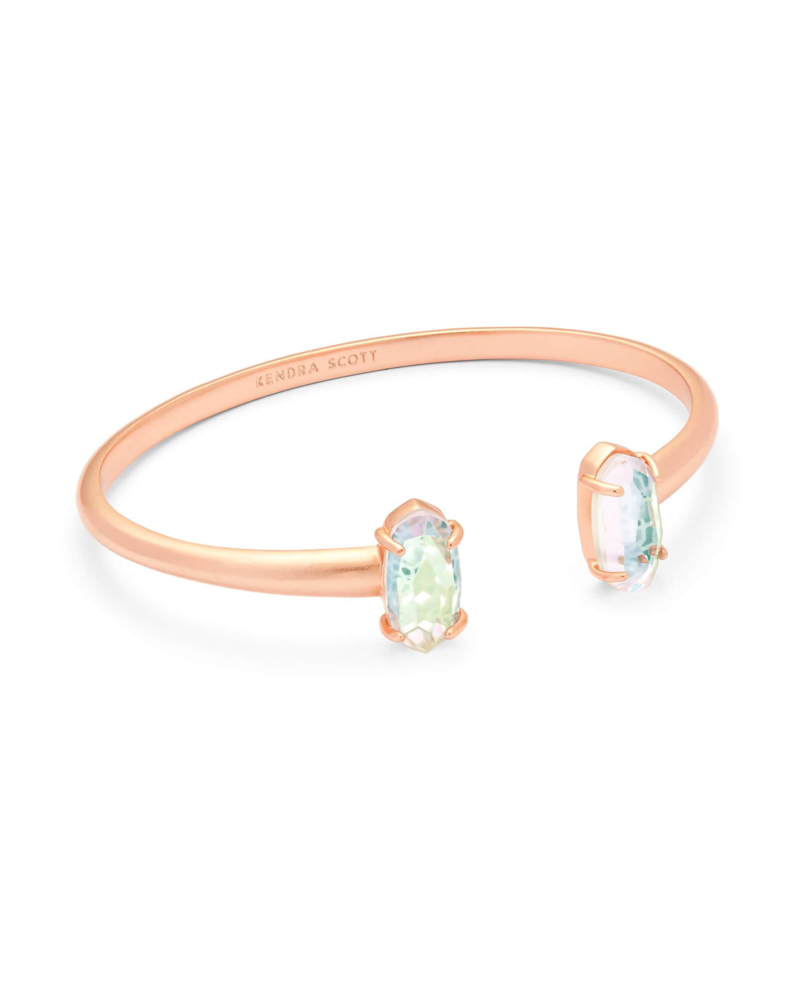 4ecd739a13e8f Edie Rose Gold Cuff Bracelet in Blush Dichroic Glass