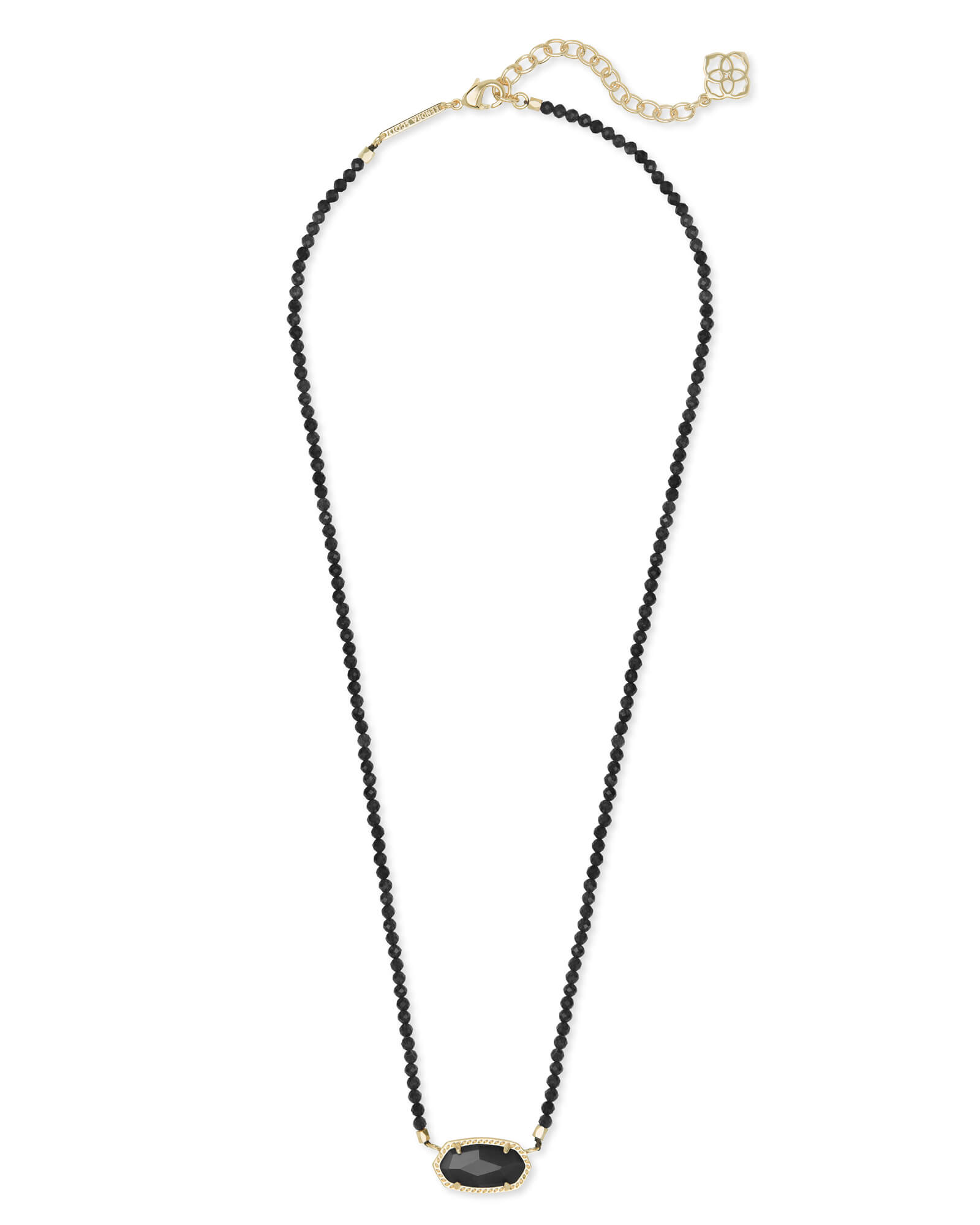 Elisa Gold Beaded Pendant Necklace in Black Mix