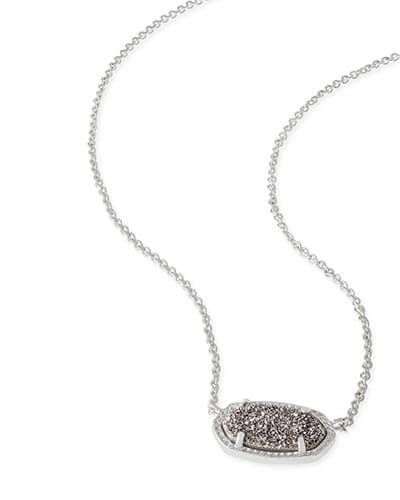 Elisa Silver Pendant Necklace in Platinum Drusy