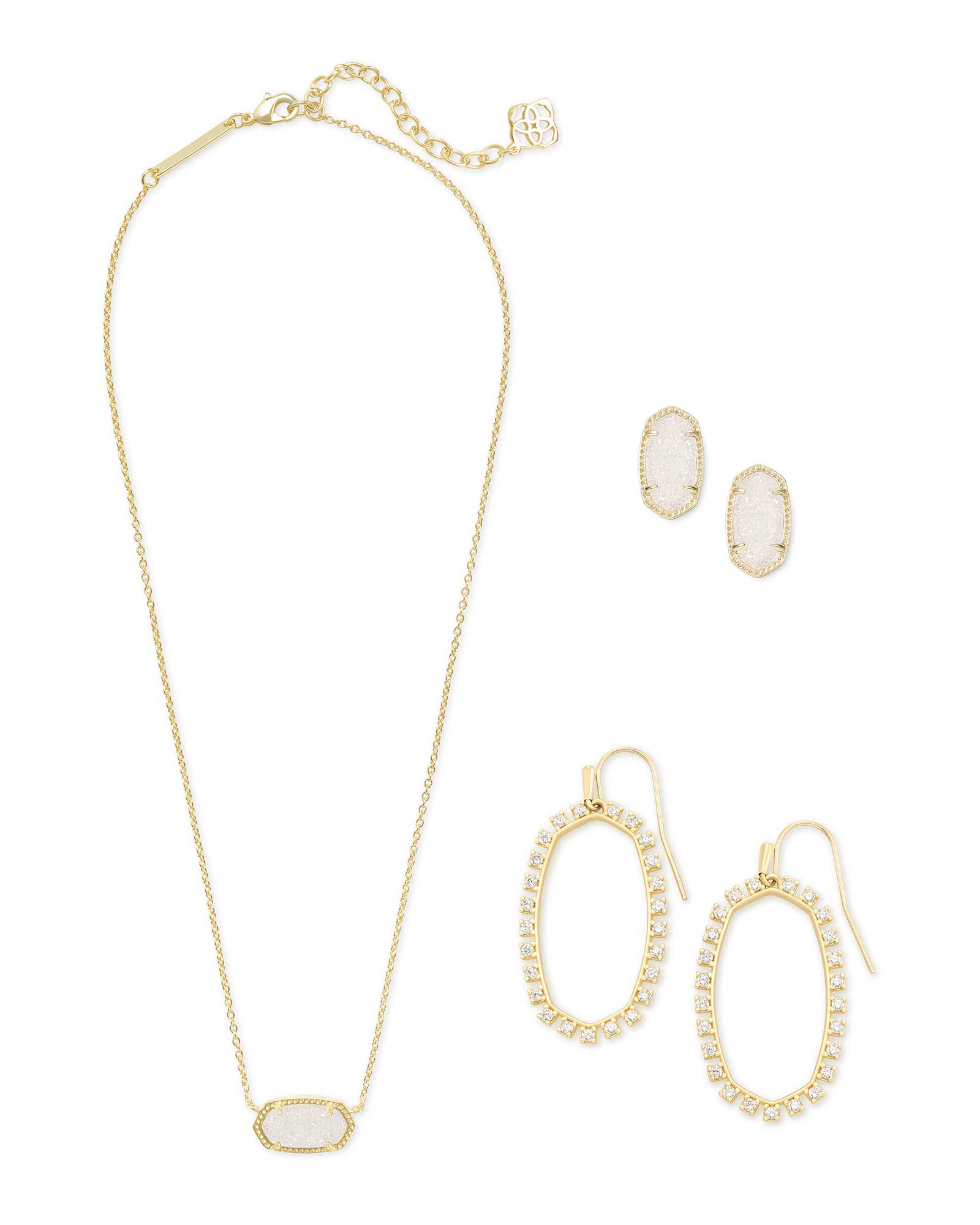 Elisa Necklace, Ellie Earrings, & Elle Open Frame Crystal Earrings Gift Set