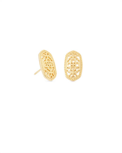 Ellie Gold Stud Earrings in Gold Filigree Mix