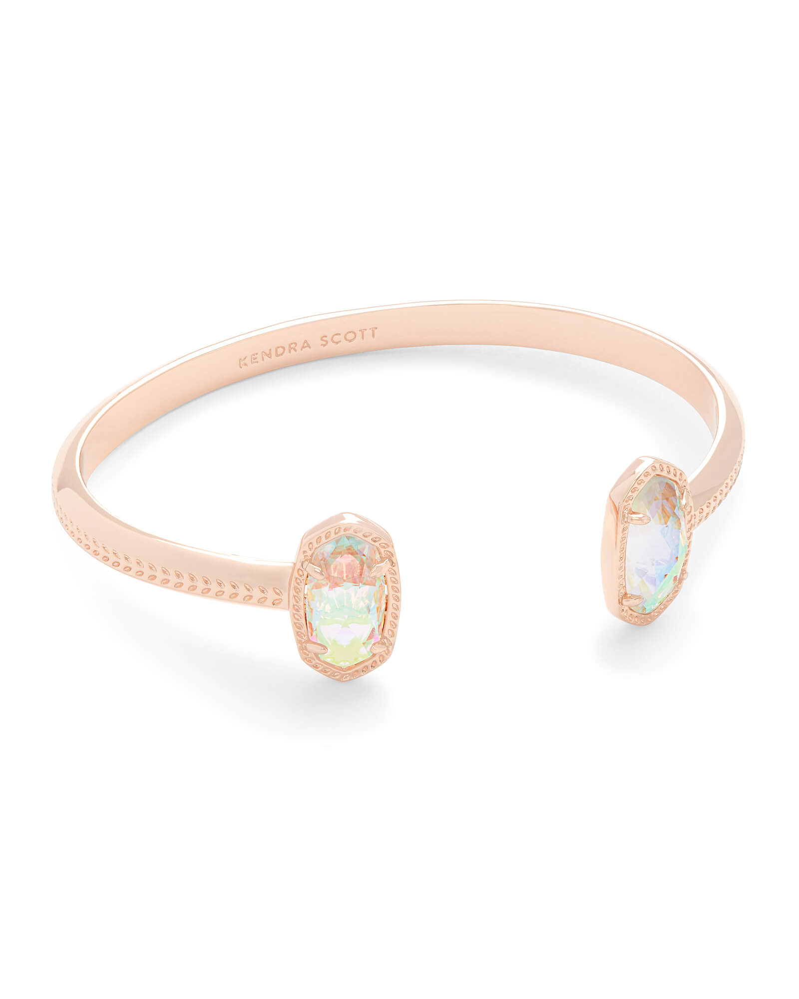 Elton Rose Gold Cuff Bracelet in Dichroic Glass