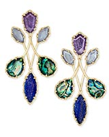 Gwenyth Gold Statement Earrings In Purple Mix